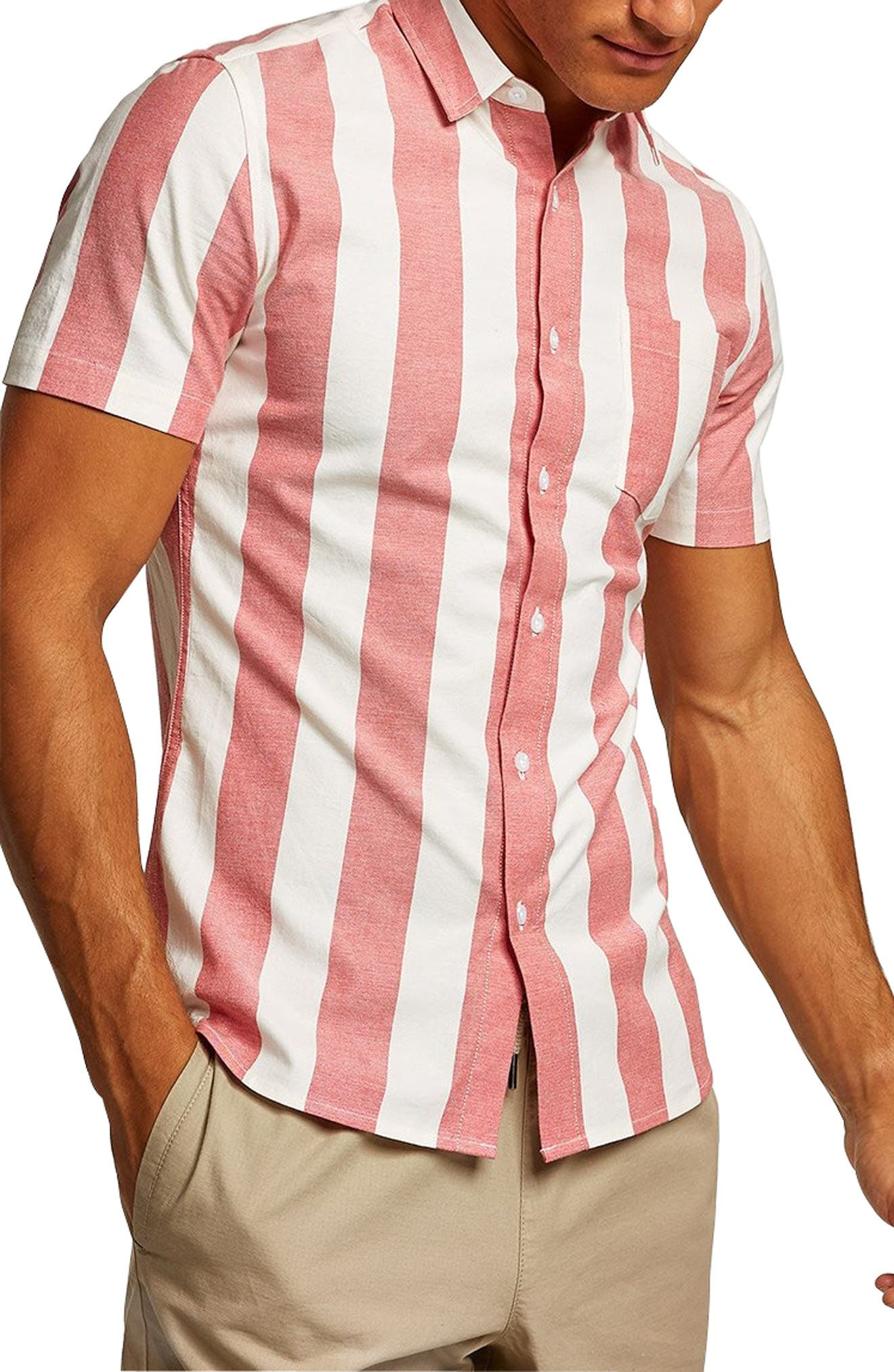 Muscle Stripe Woven Shirt,                             Main thumbnail 1, color,                             RED MULTI