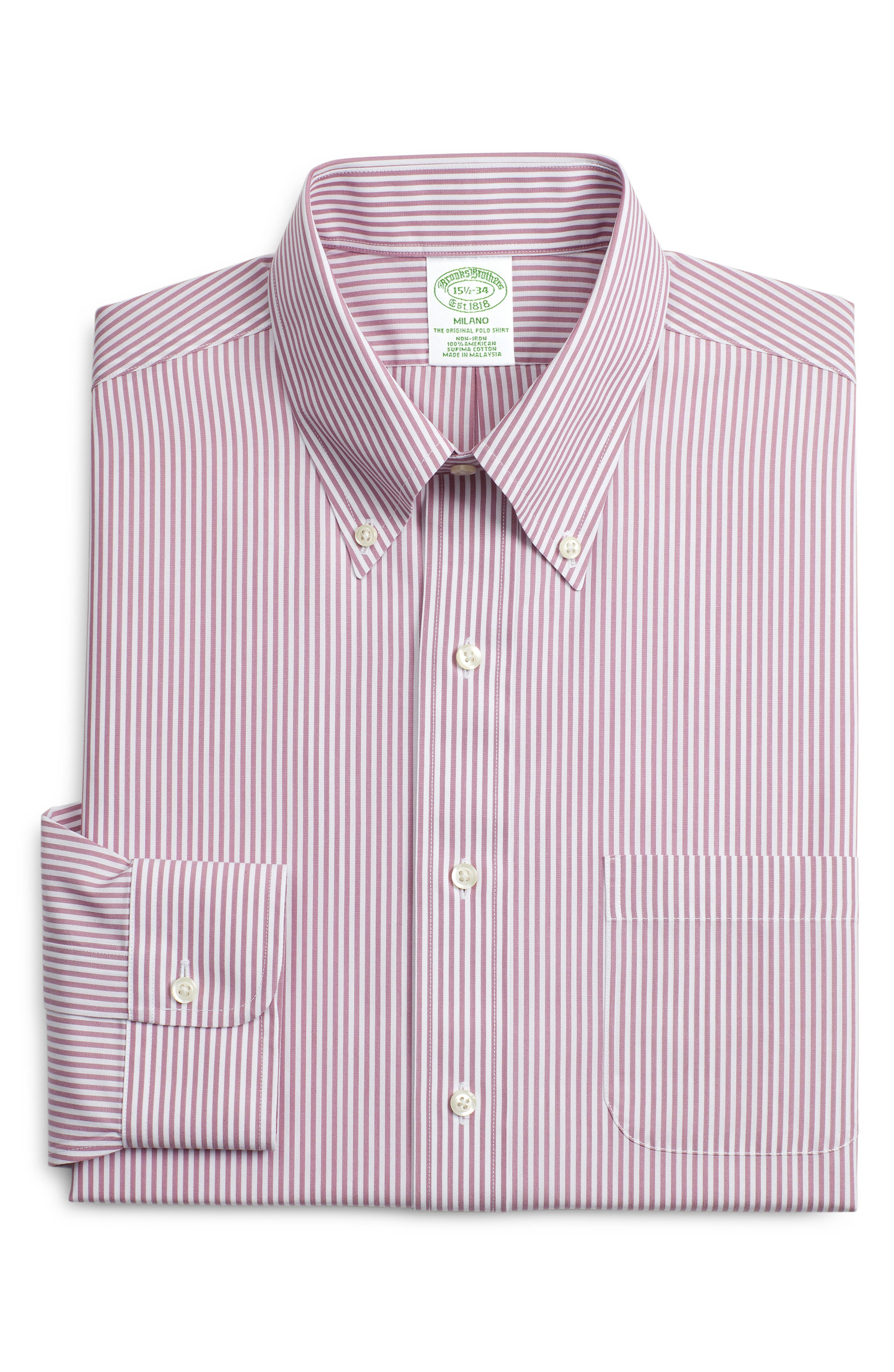 Brooks Brothers Milano Trim Fit Stripe Dress Shirt (3 For $207)