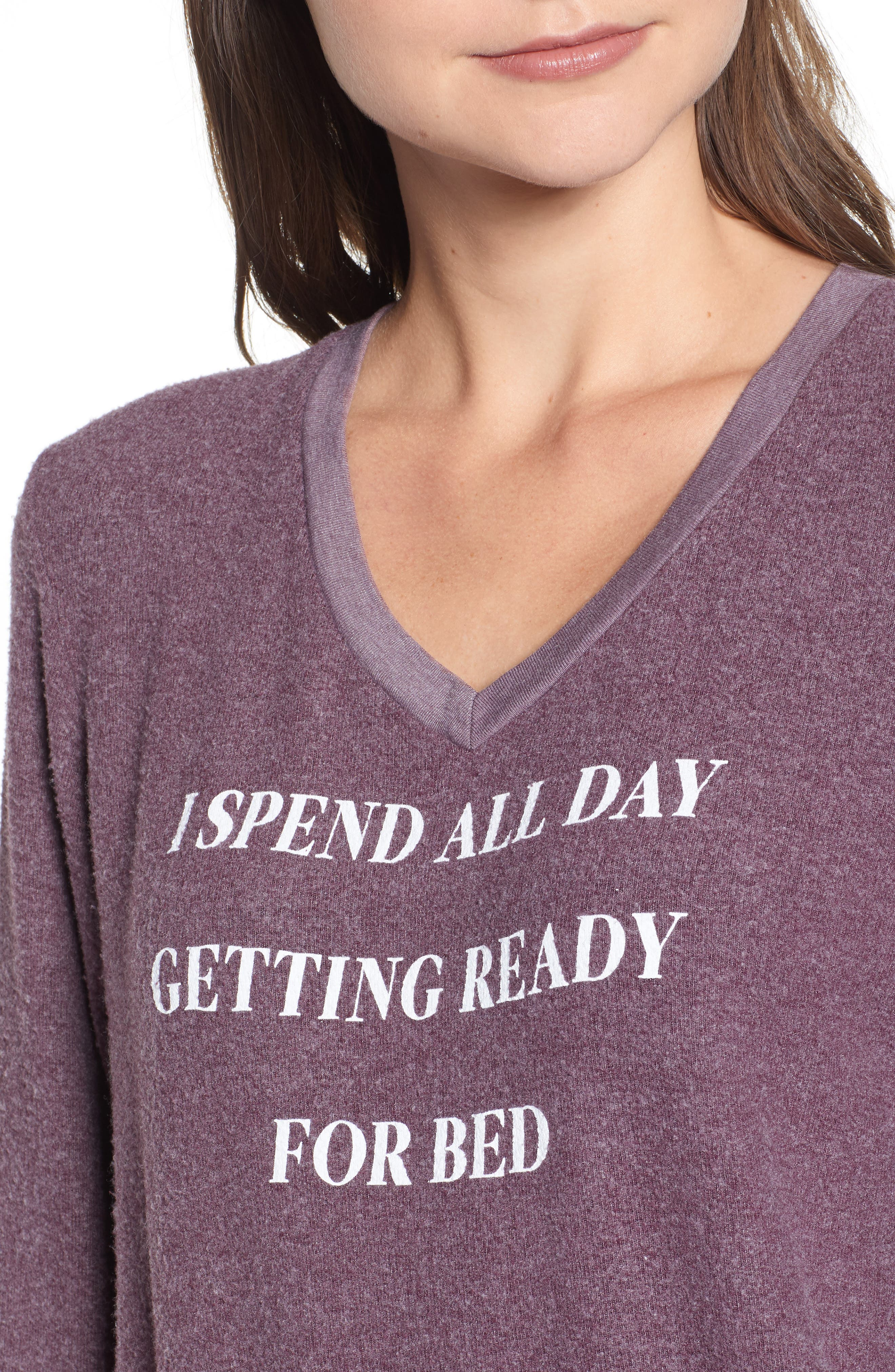 Ready For Bed Baggy Beach Jumper Sweatshirt,                             Alternate thumbnail 4, color,                             CRUSHED BERRY