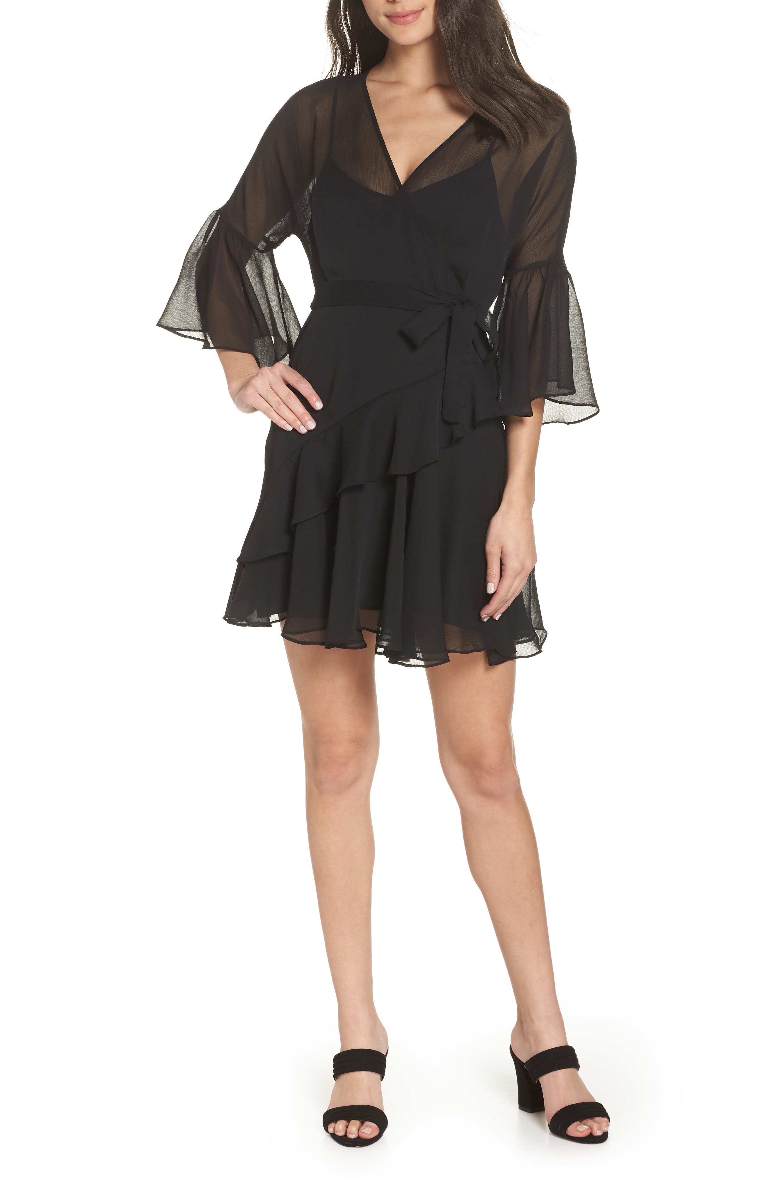 Hallie Ruffle Dress,                             Main thumbnail 1, color,                             BLACK