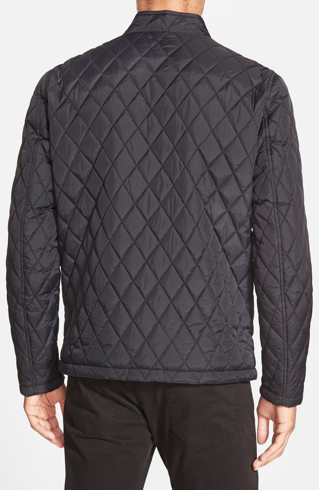 Quilted Moto Jacket,                             Alternate thumbnail 9, color,                             BLACK