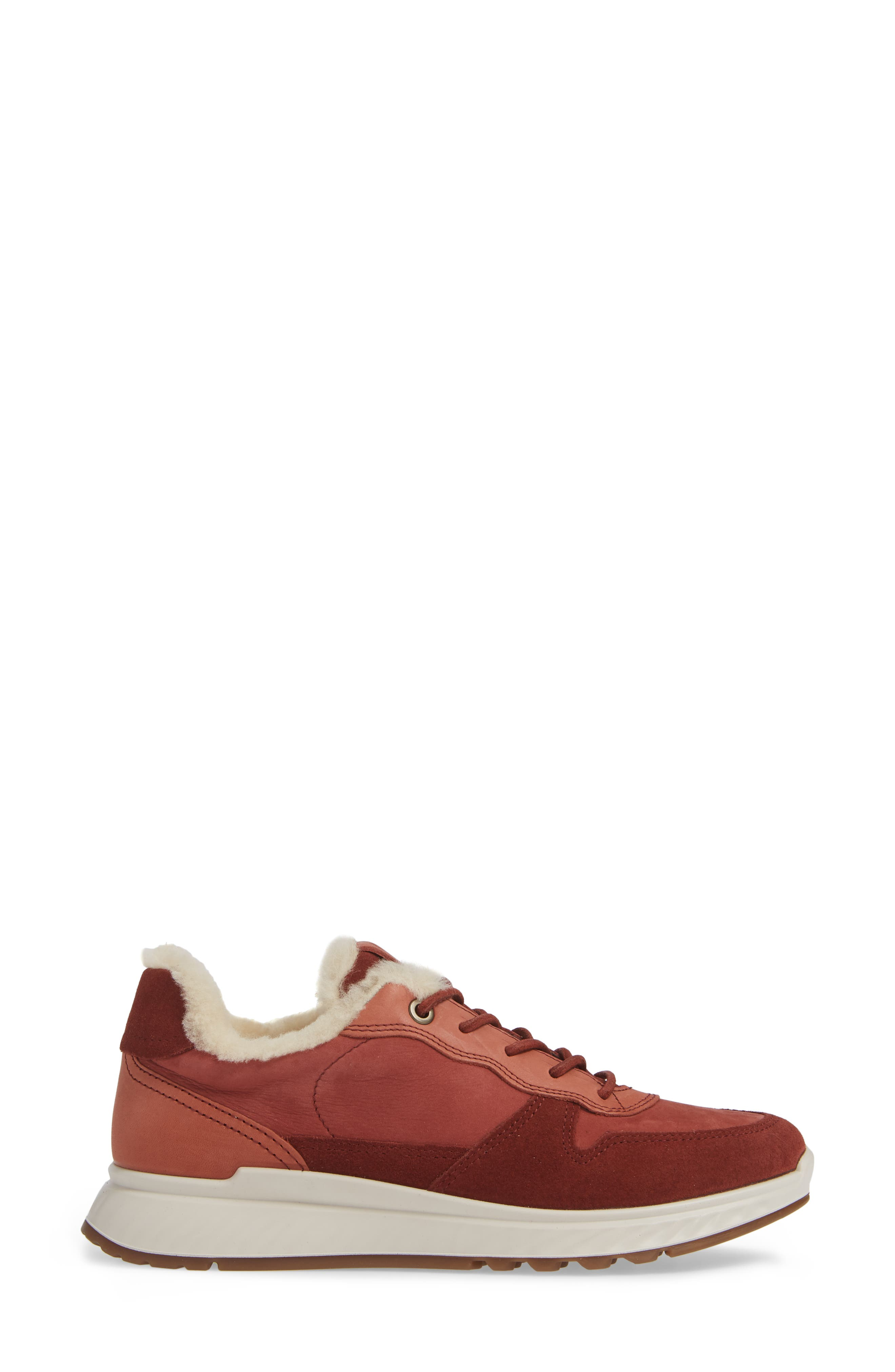 ST1 Genuine Shearling Sneaker,                             Alternate thumbnail 3, color,                             FIRED BRICK NUBUCK LEATHER