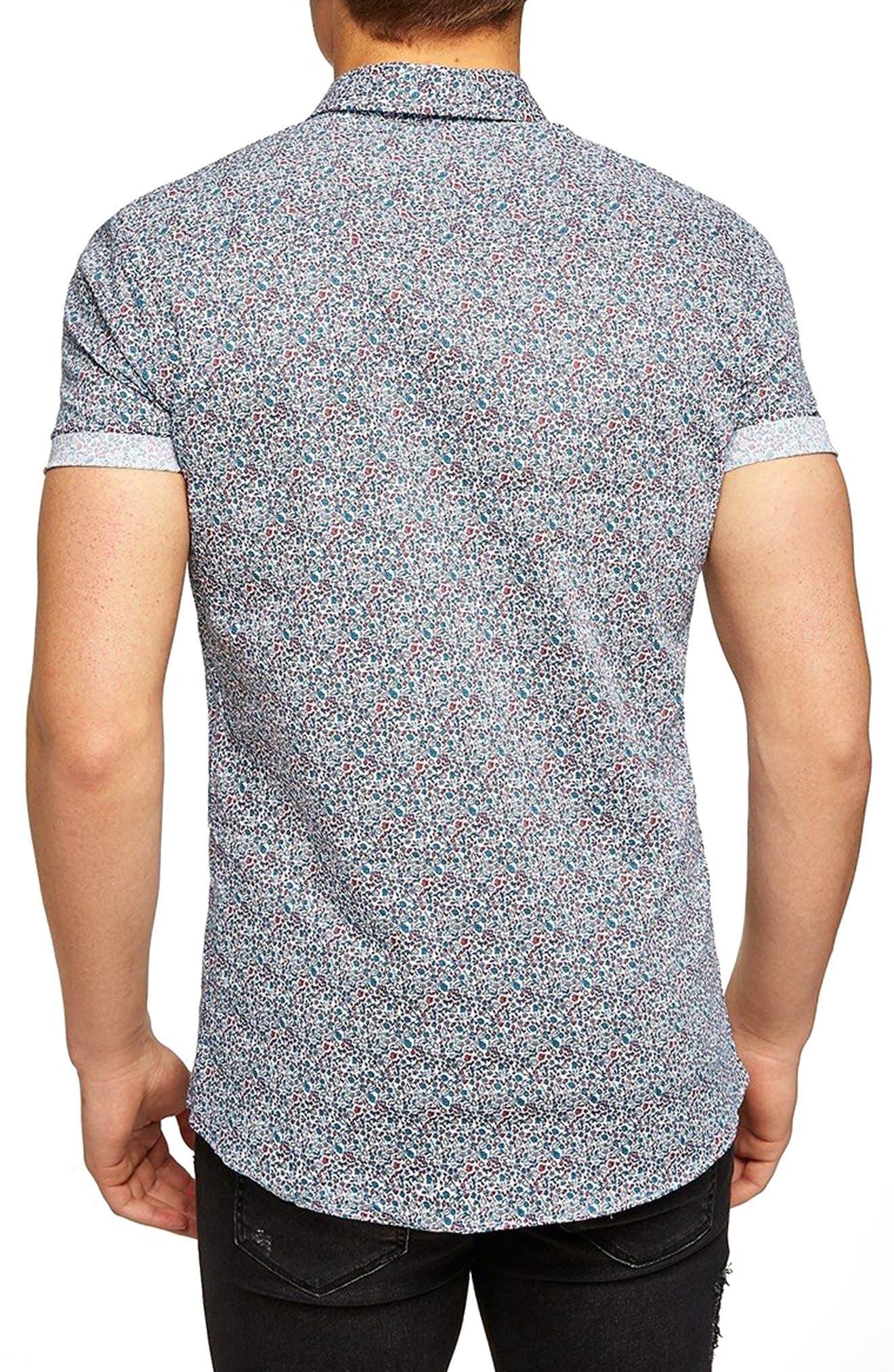 Muscle Fit Ditzy Floral Print Shirt,                             Alternate thumbnail 2, color,                             100