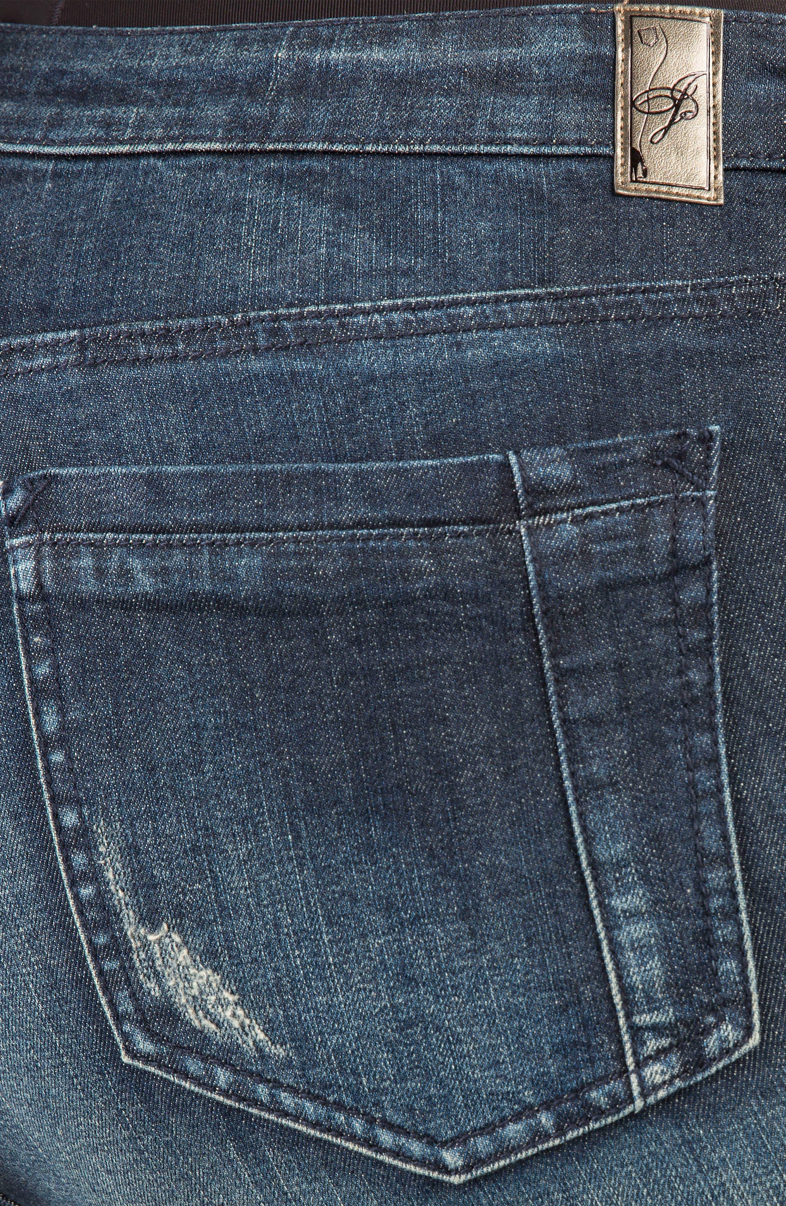 Kylie Curvy Fit Flare Leg Jeans,                             Alternate thumbnail 4, color,                             2942 UNFORGIVEN DARK BLUE