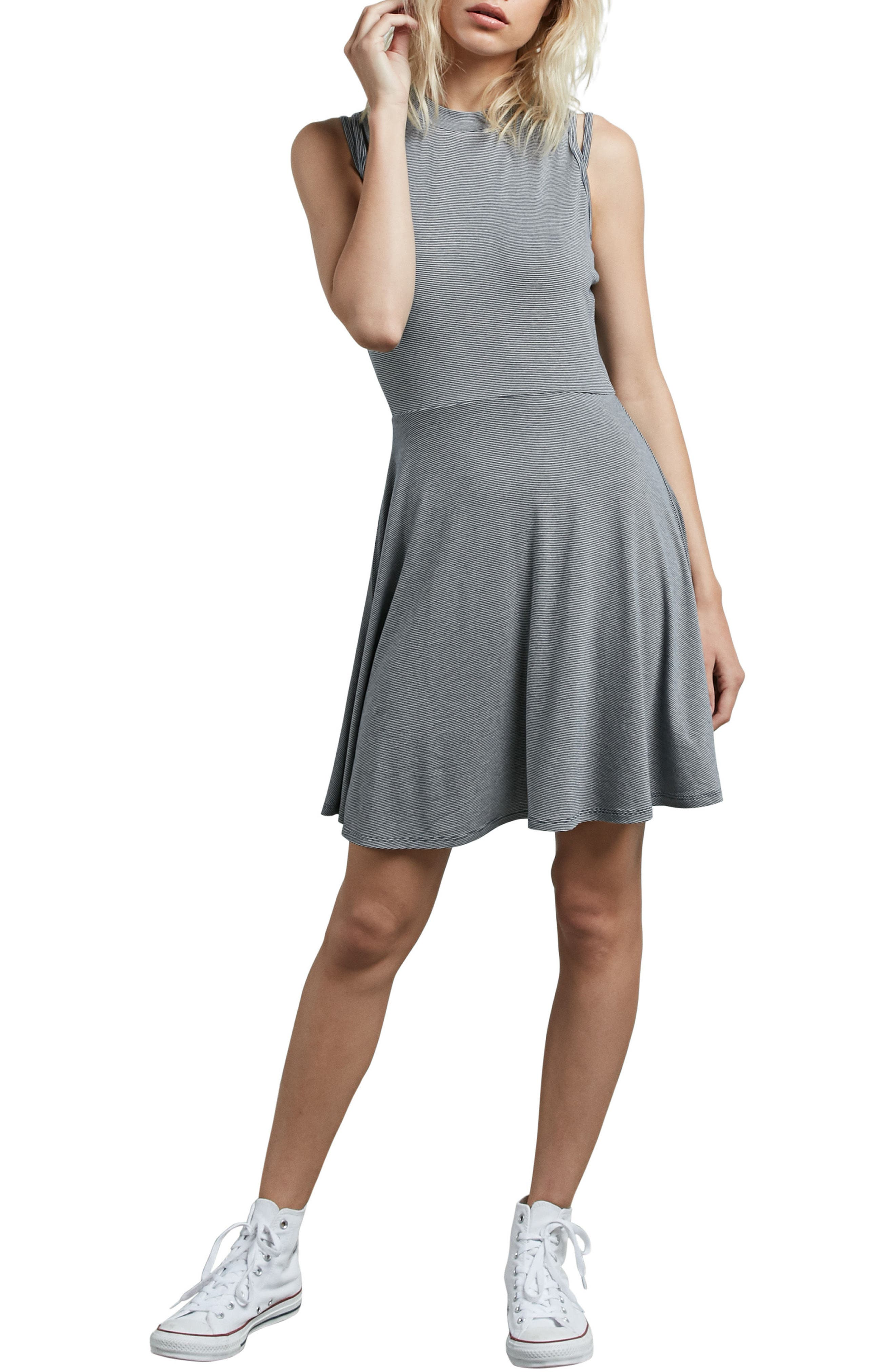 Open Arms Strappy Skater Dress,                             Main thumbnail 1, color,                             100