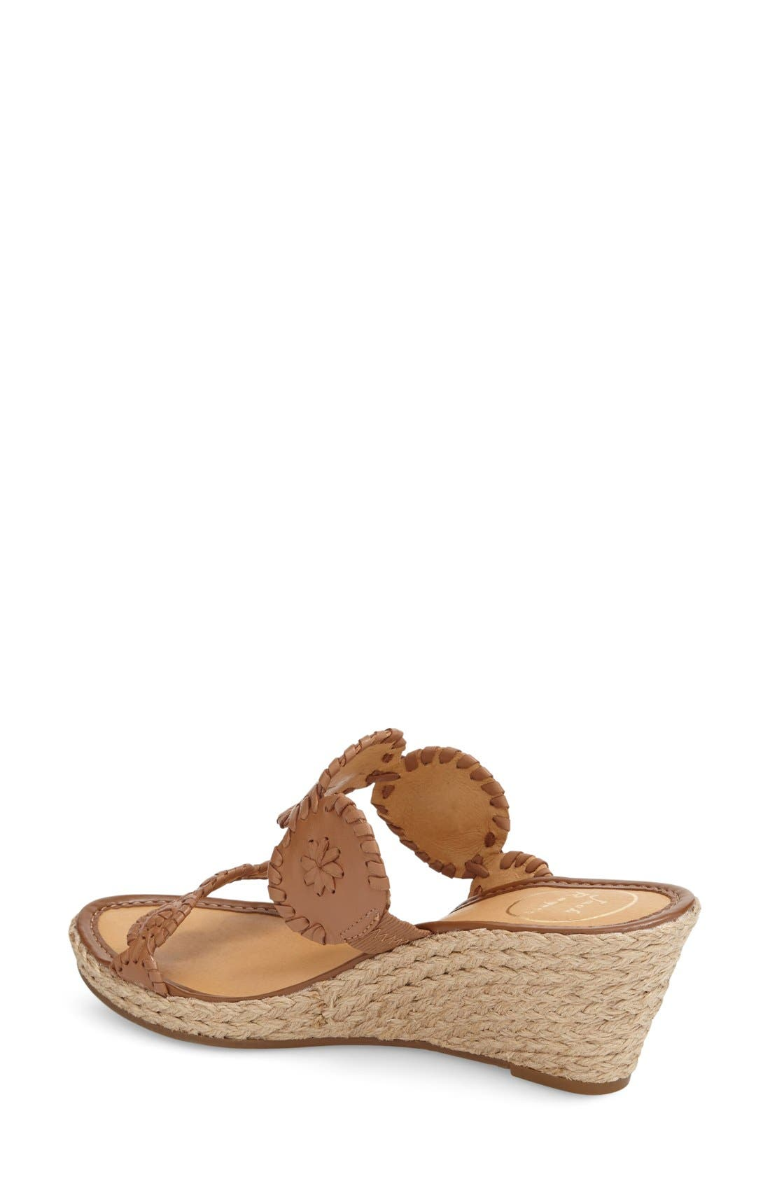 'Shelby' Whipstitched Wedge Sandal,                             Alternate thumbnail 2, color,                             COGNAC