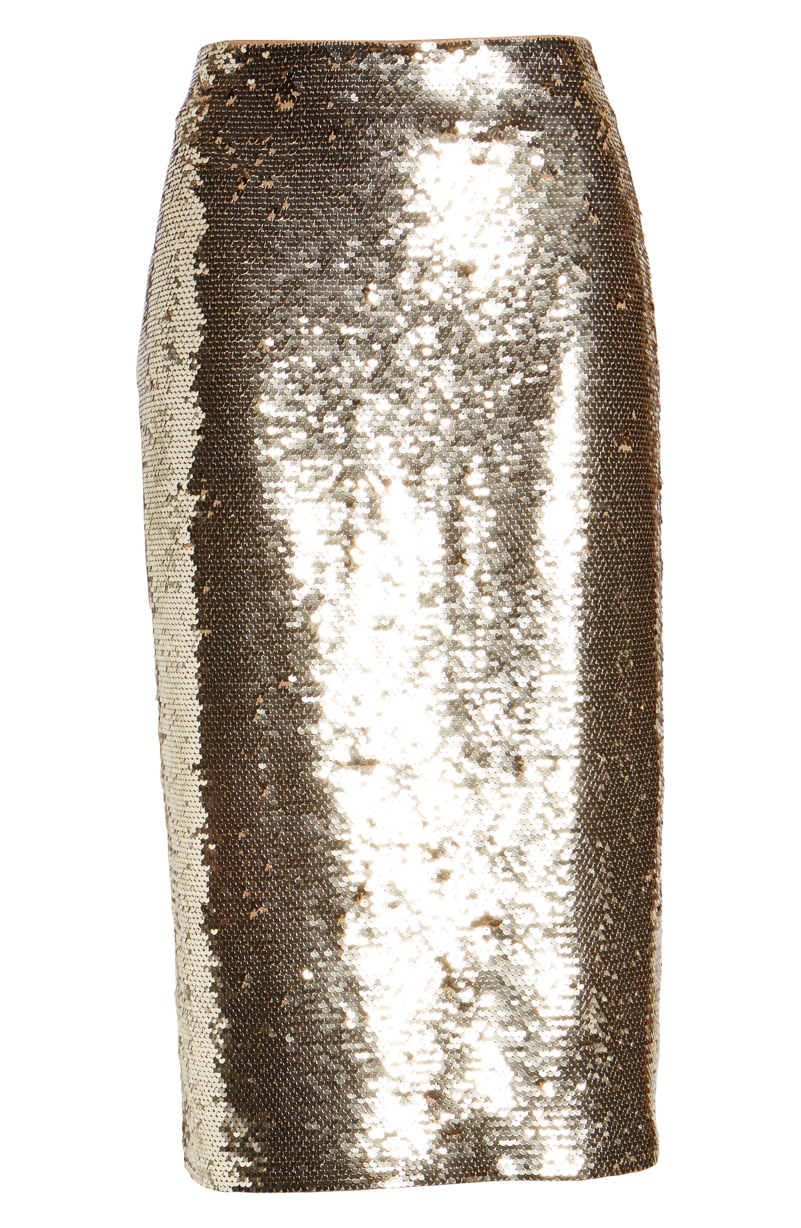 Sequin Pencil Skirt,                             Alternate thumbnail 6, color,                             GOLD