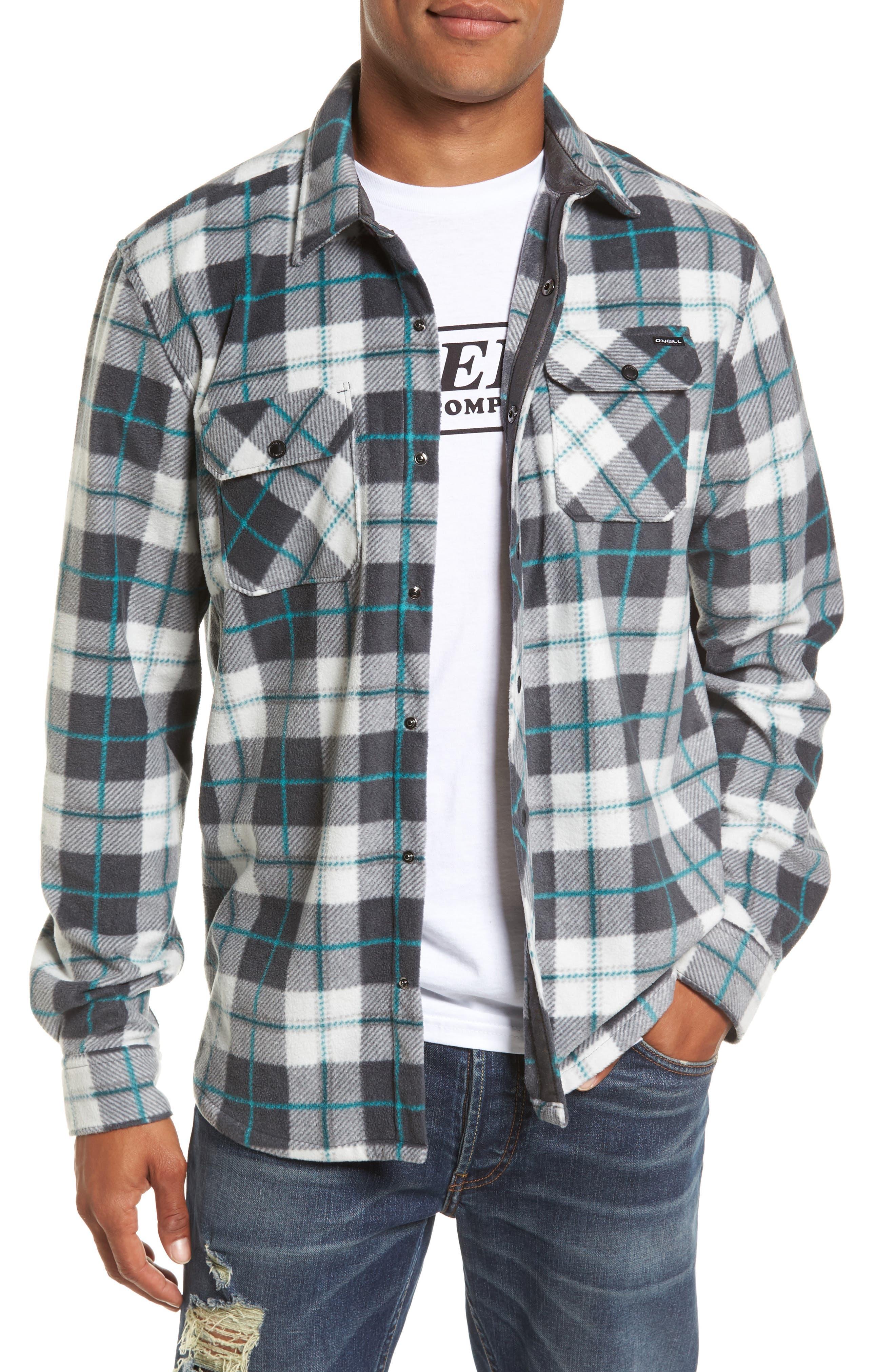 Glacier Plaid Fleece Flannel Shirt,                             Main thumbnail 4, color,