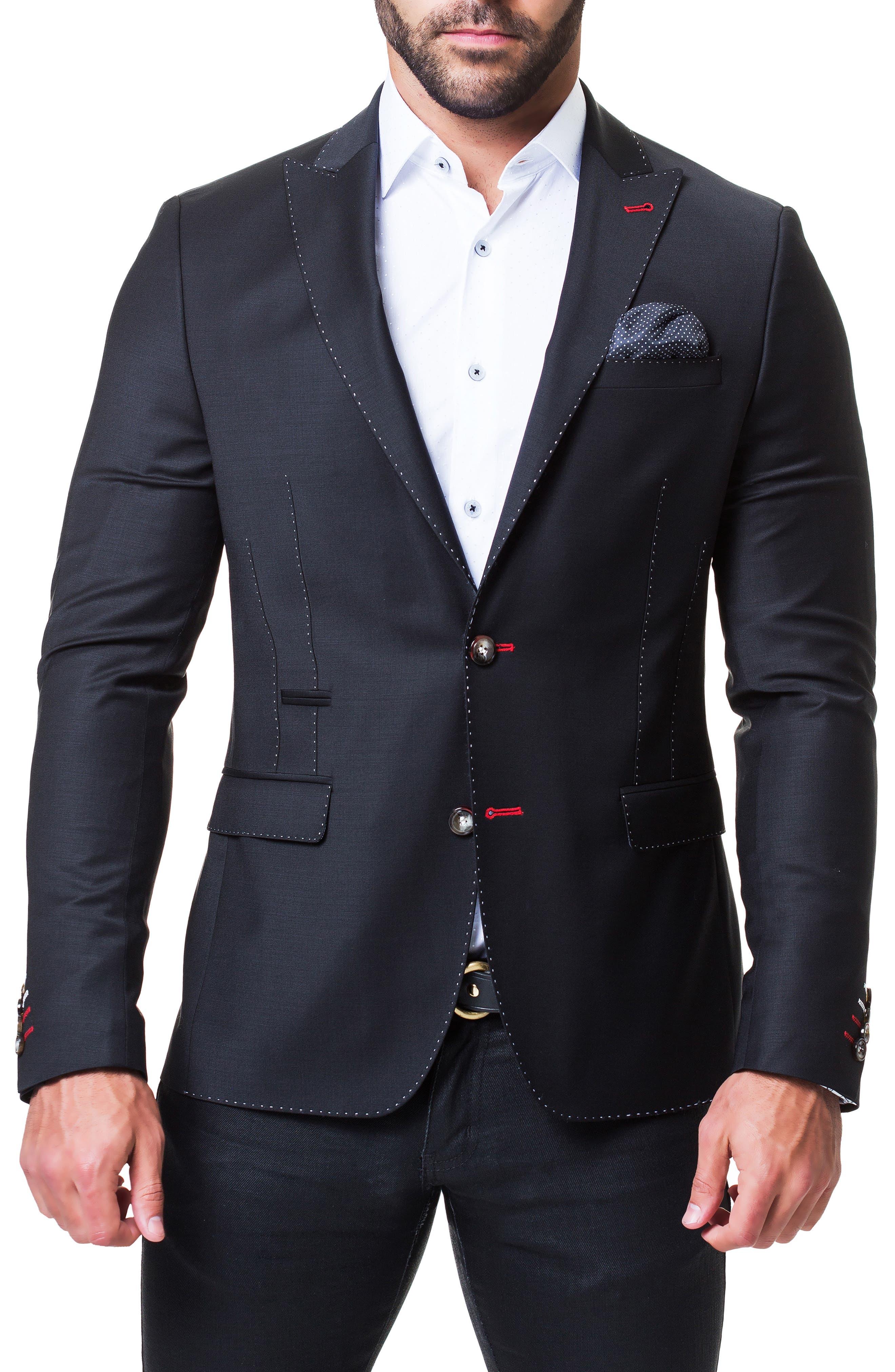 Beethoven Solid Blazer,                         Main,                         color, BLACK