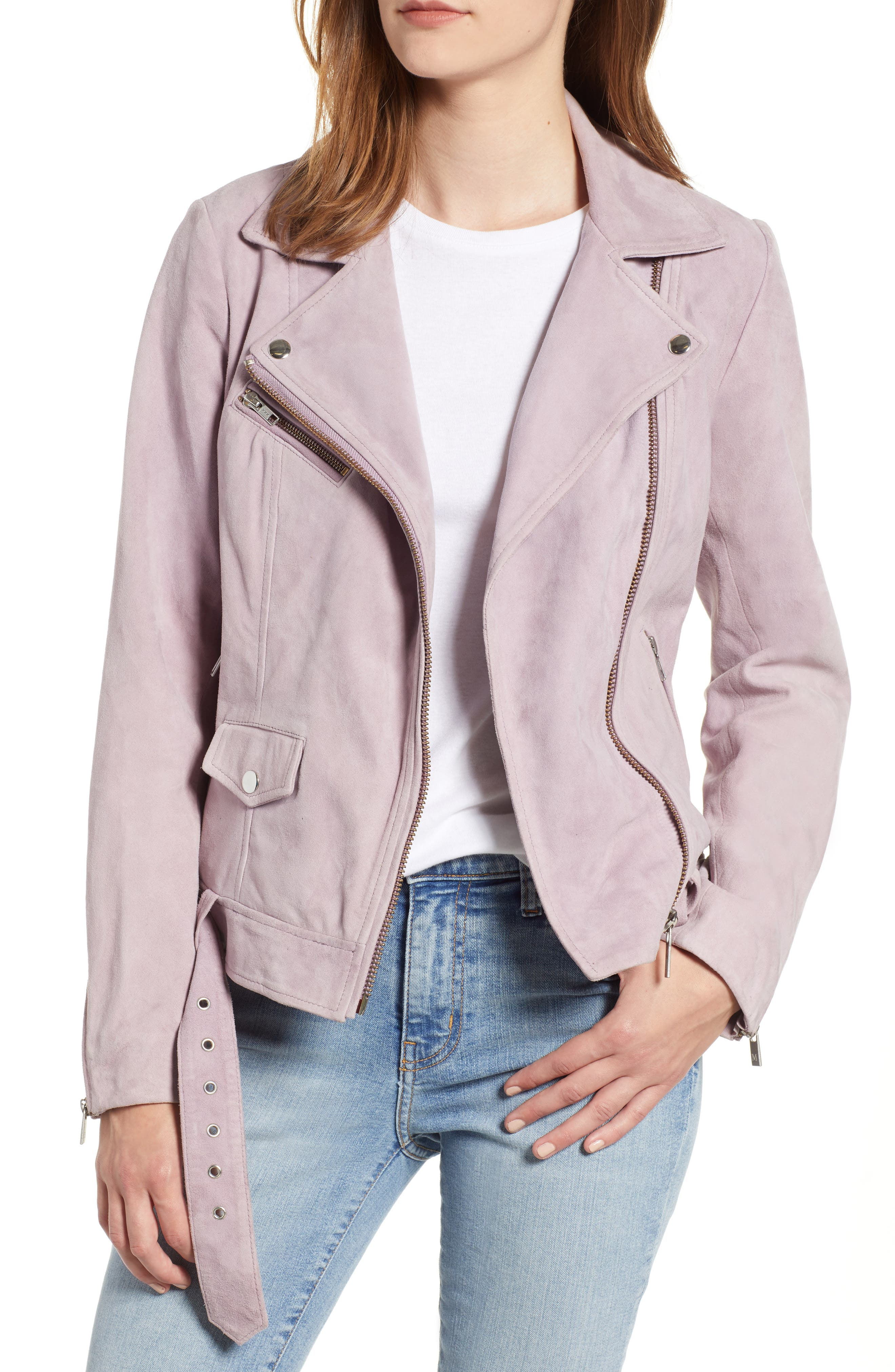 Suede Biker Jacket,                         Main,                         color, 500
