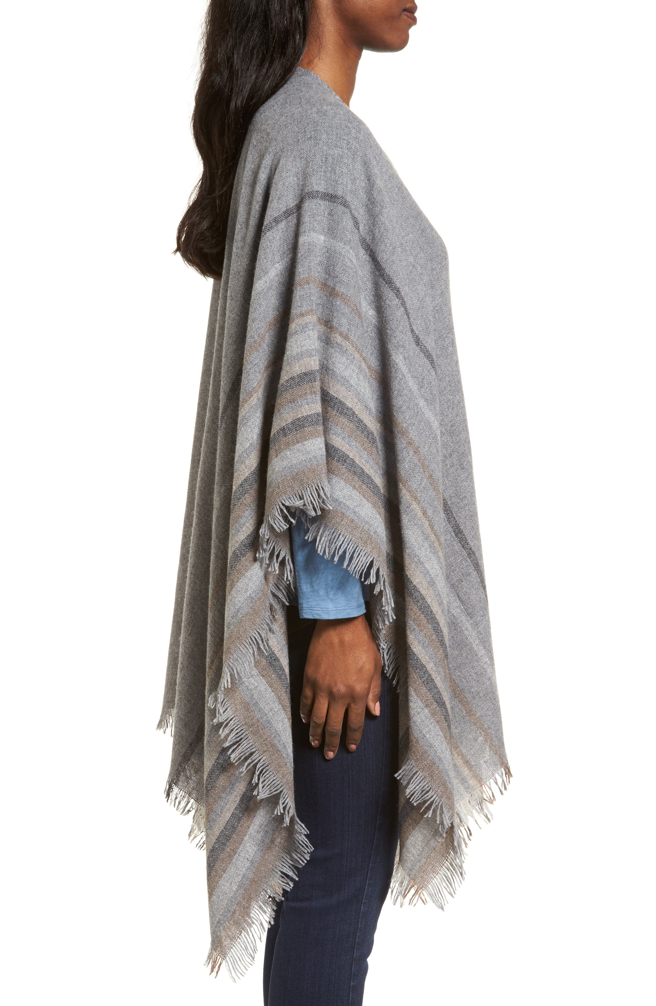Stripe Wool Blend Poncho Wrap,                             Alternate thumbnail 3, color,                             030