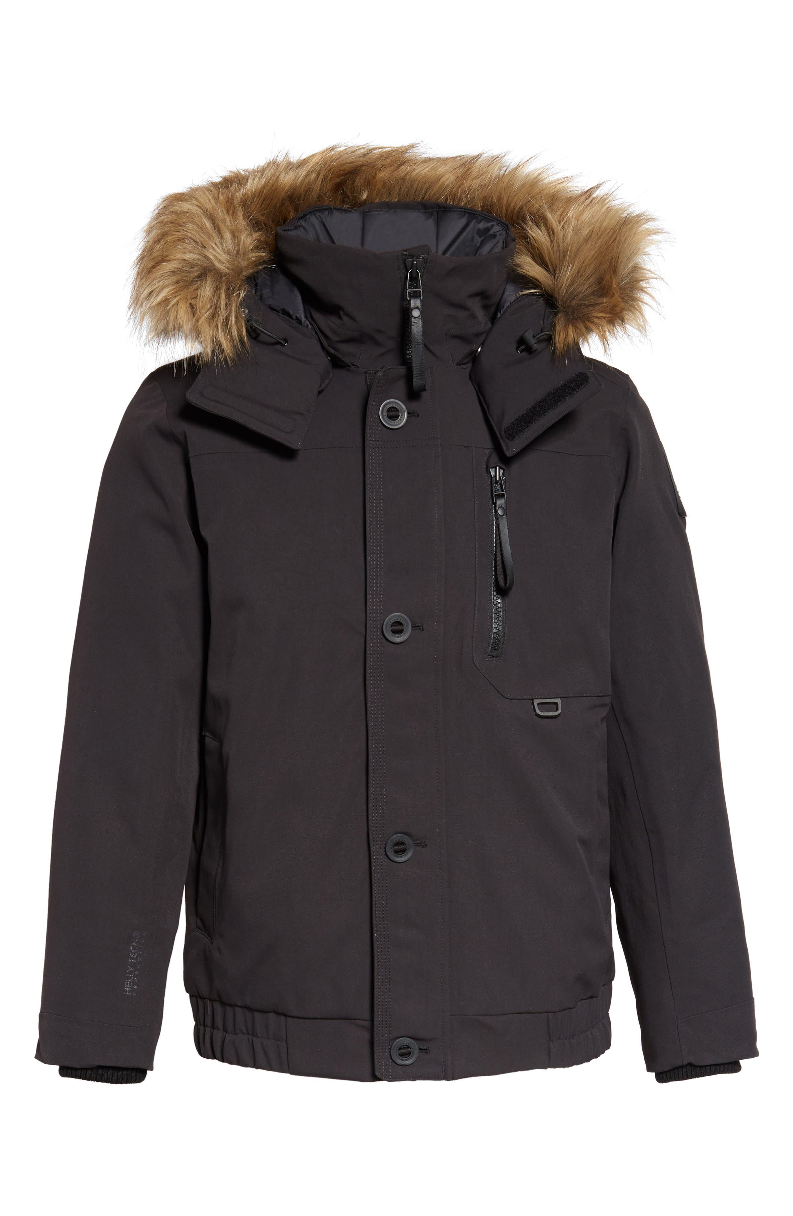 Bardu Waterproof Bomber Jacket with Detachable Hood and Faux Fur Trim,                             Alternate thumbnail 6, color,                             BLACK