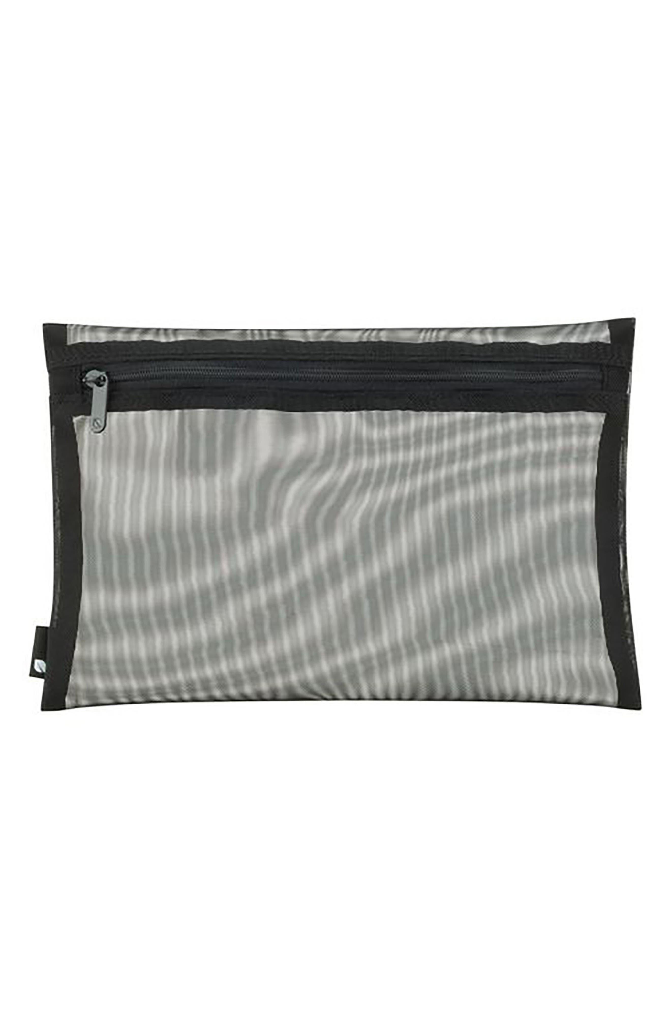 3-Pack Zip Pouches,                         Main,                         color, BLACK