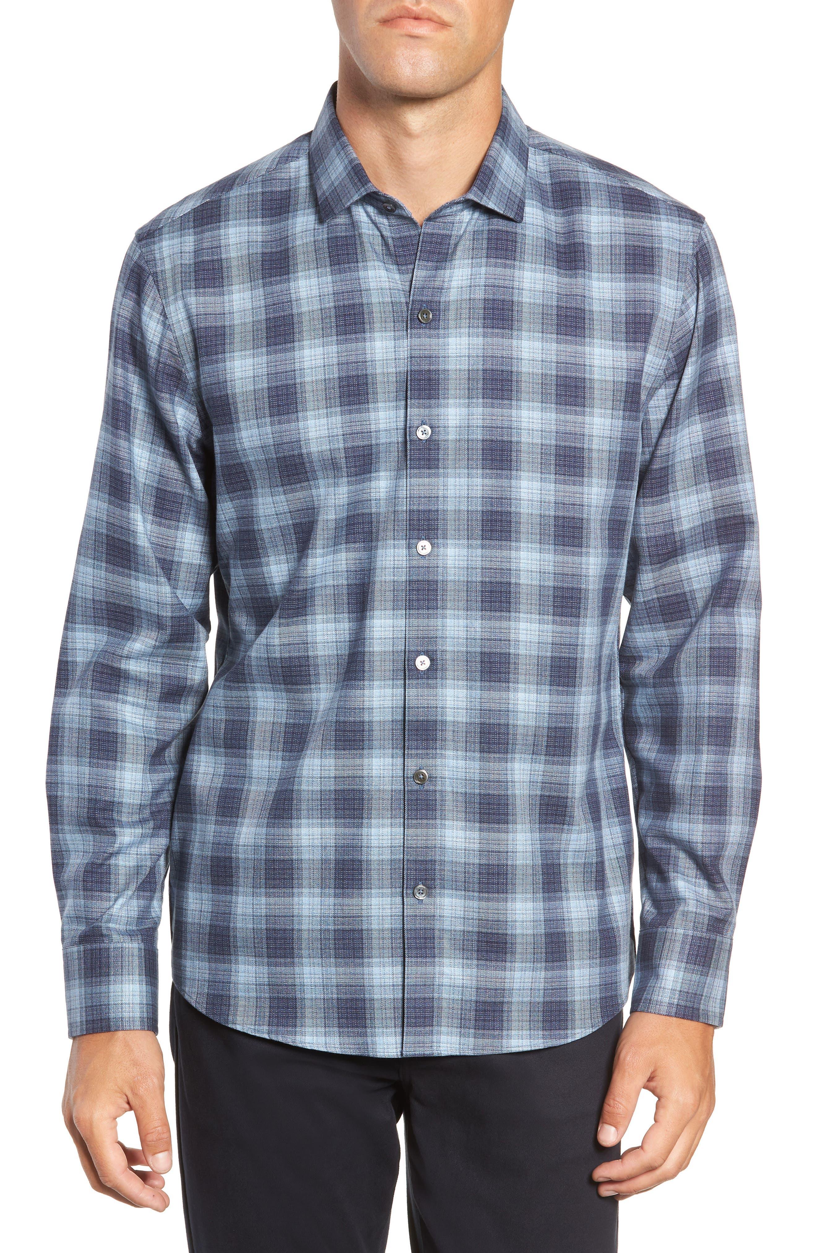 Oris Regular Fit Check Sport Shirt,                         Main,                         color, BLUE