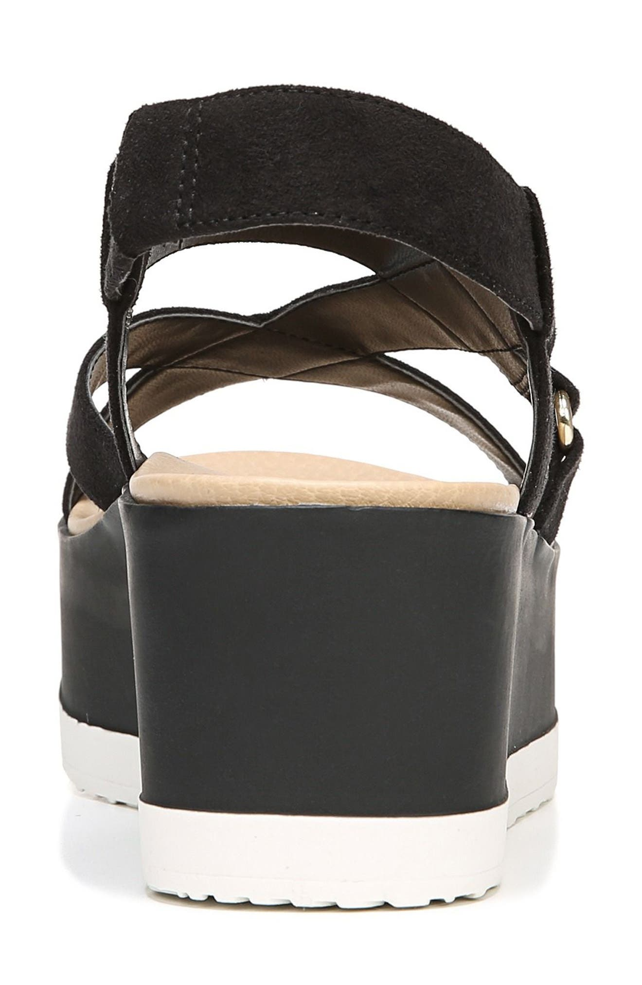 Companion Platform Sandal,                             Alternate thumbnail 7, color,                             BLACK FABRIC