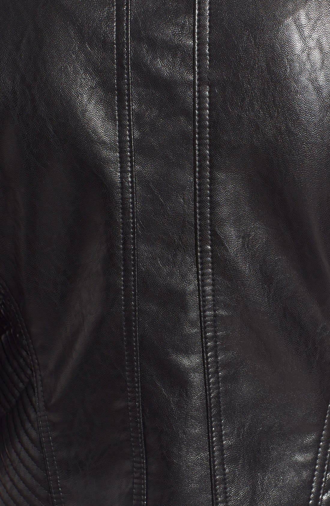 Quilt Detail Faux Leather Stand Collar Jacket,                             Alternate thumbnail 5, color,                             001