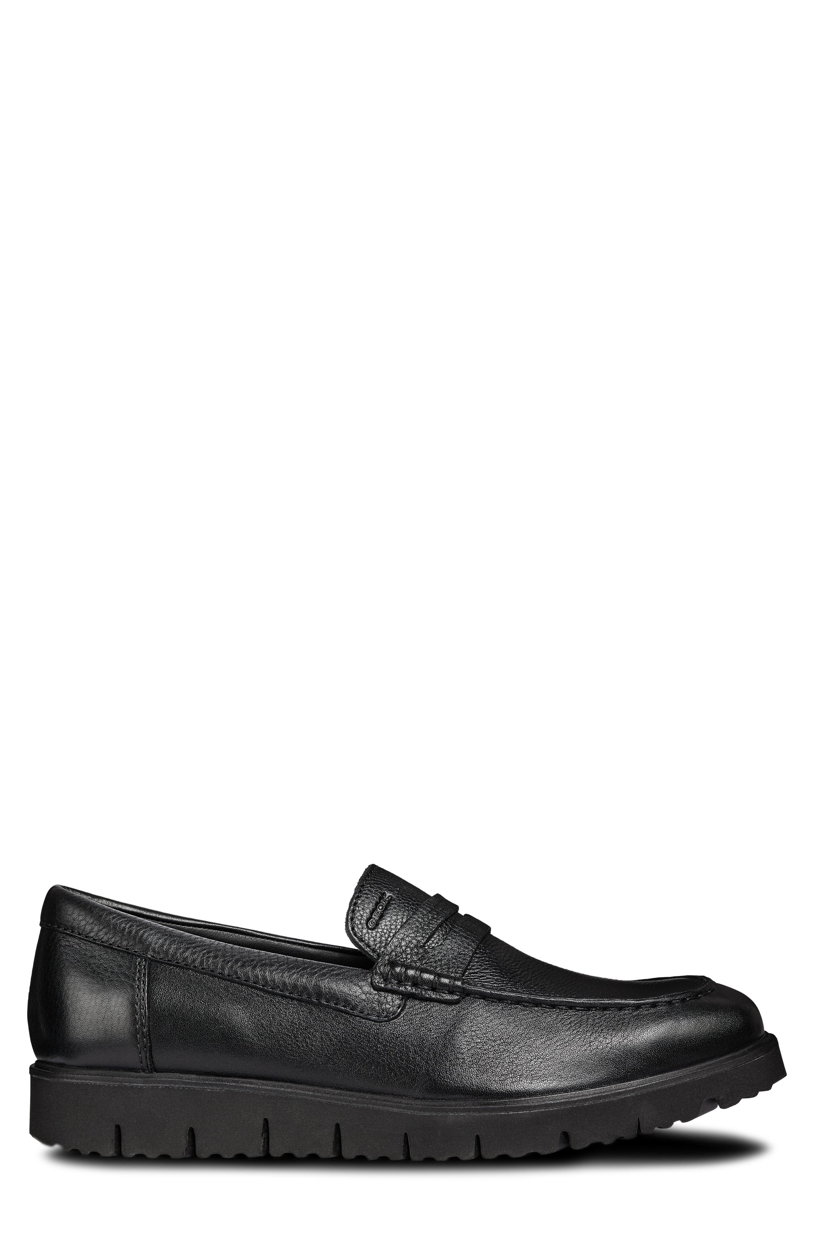 New Pluges 5 Penny Loafer,                             Alternate thumbnail 3, color,                             BLACK LEATHER