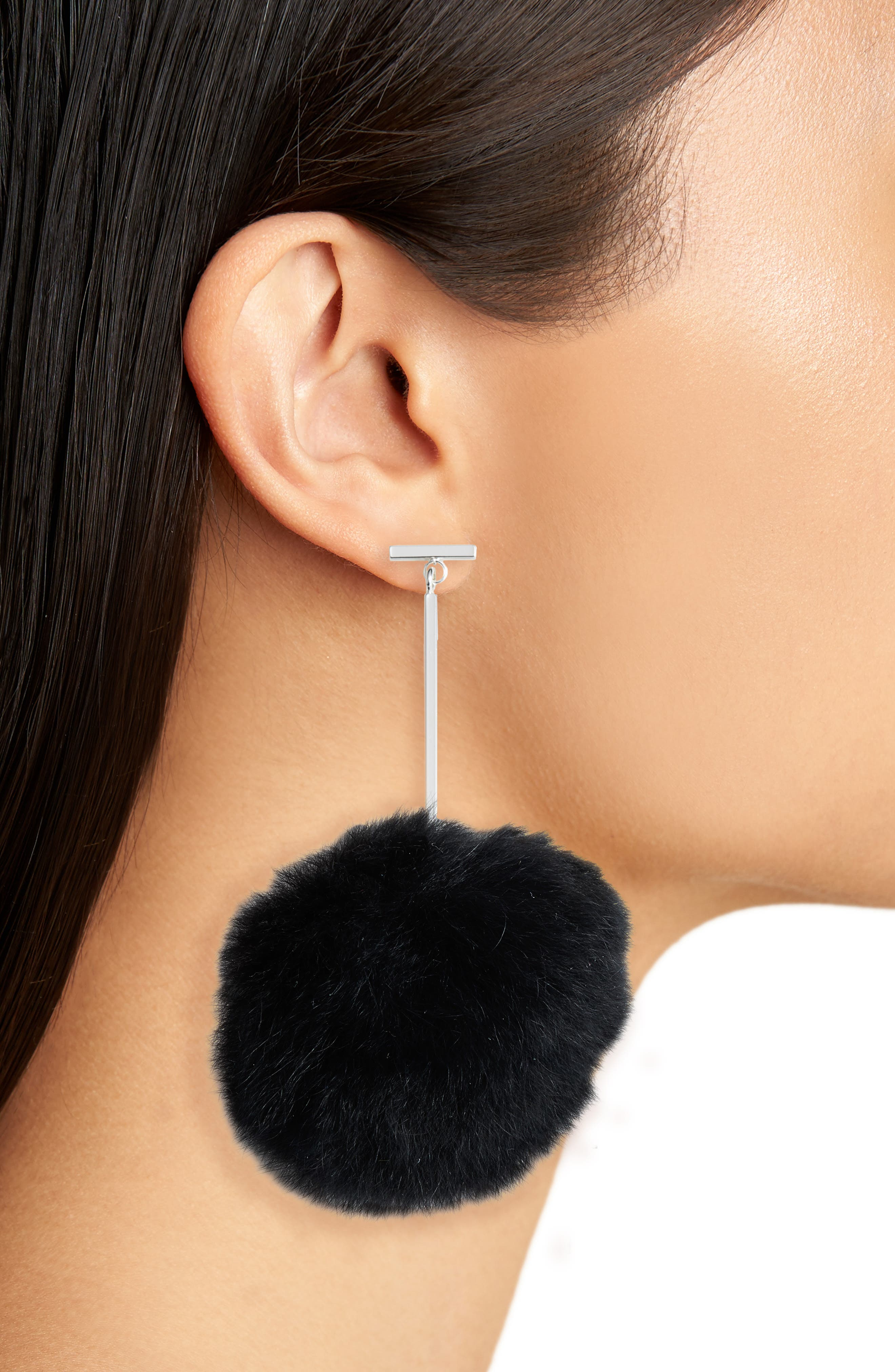 Genuine Rabbit Fur Pompom Drop Earrings,                             Alternate thumbnail 4, color,