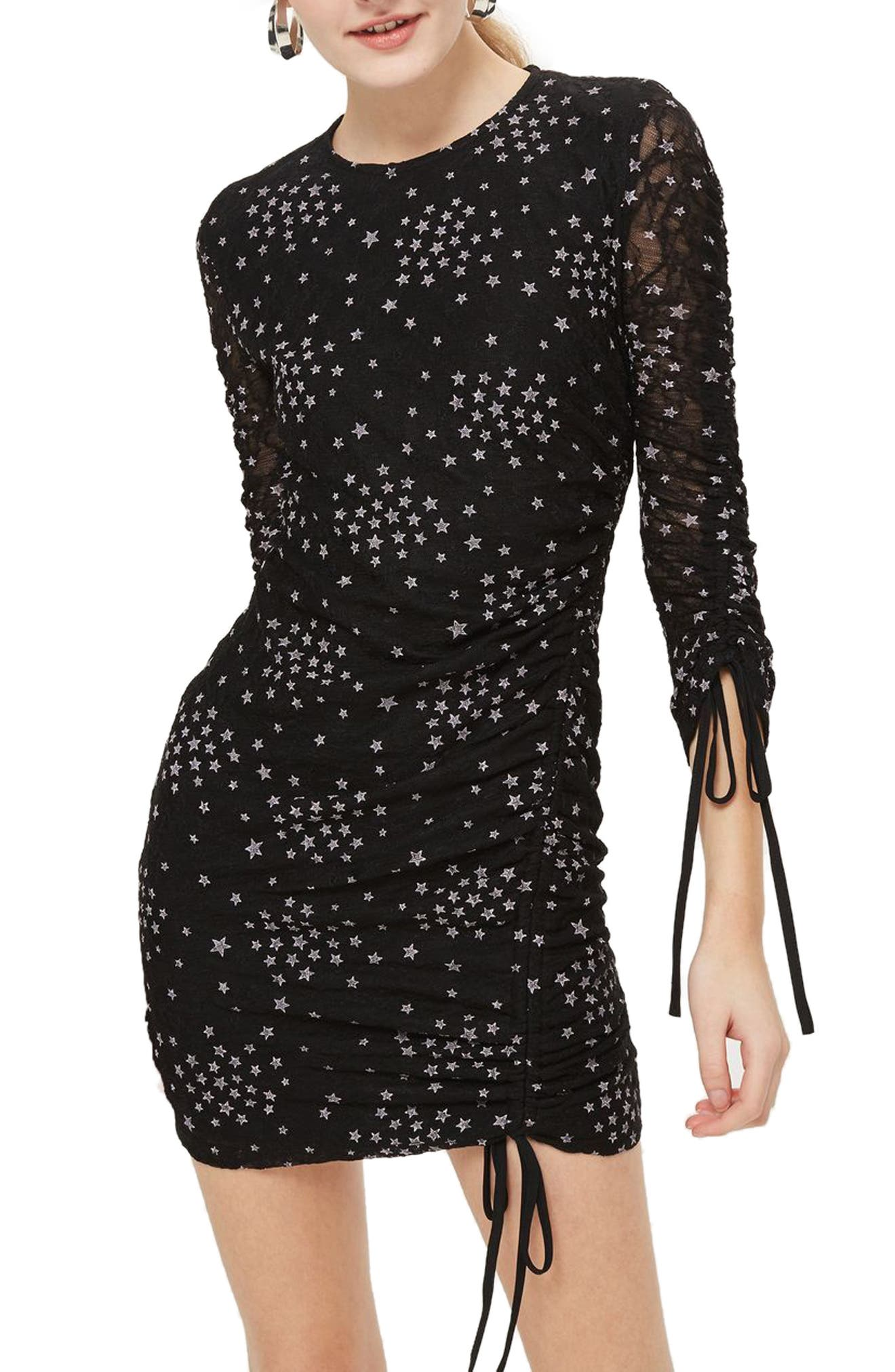 Star Print Ruched Body-Con Dress,                         Main,                         color,