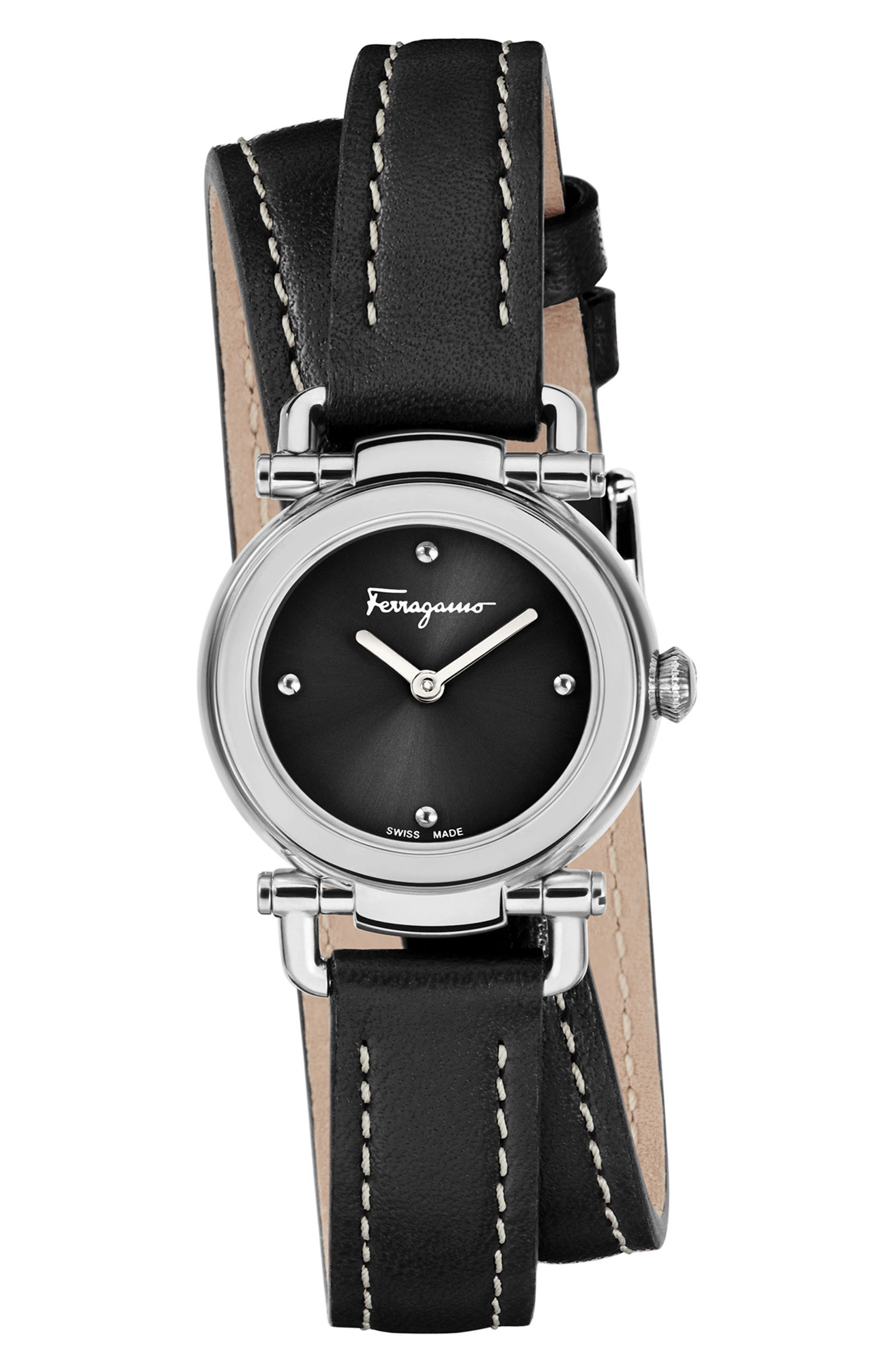 Gancino Leather Strap Watch, 26mm,                             Main thumbnail 1, color,                             BLACK/ SILVER