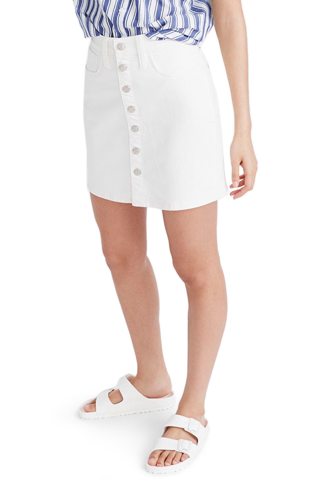 Button Front Straight Denim Skirt,                             Main thumbnail 1, color,