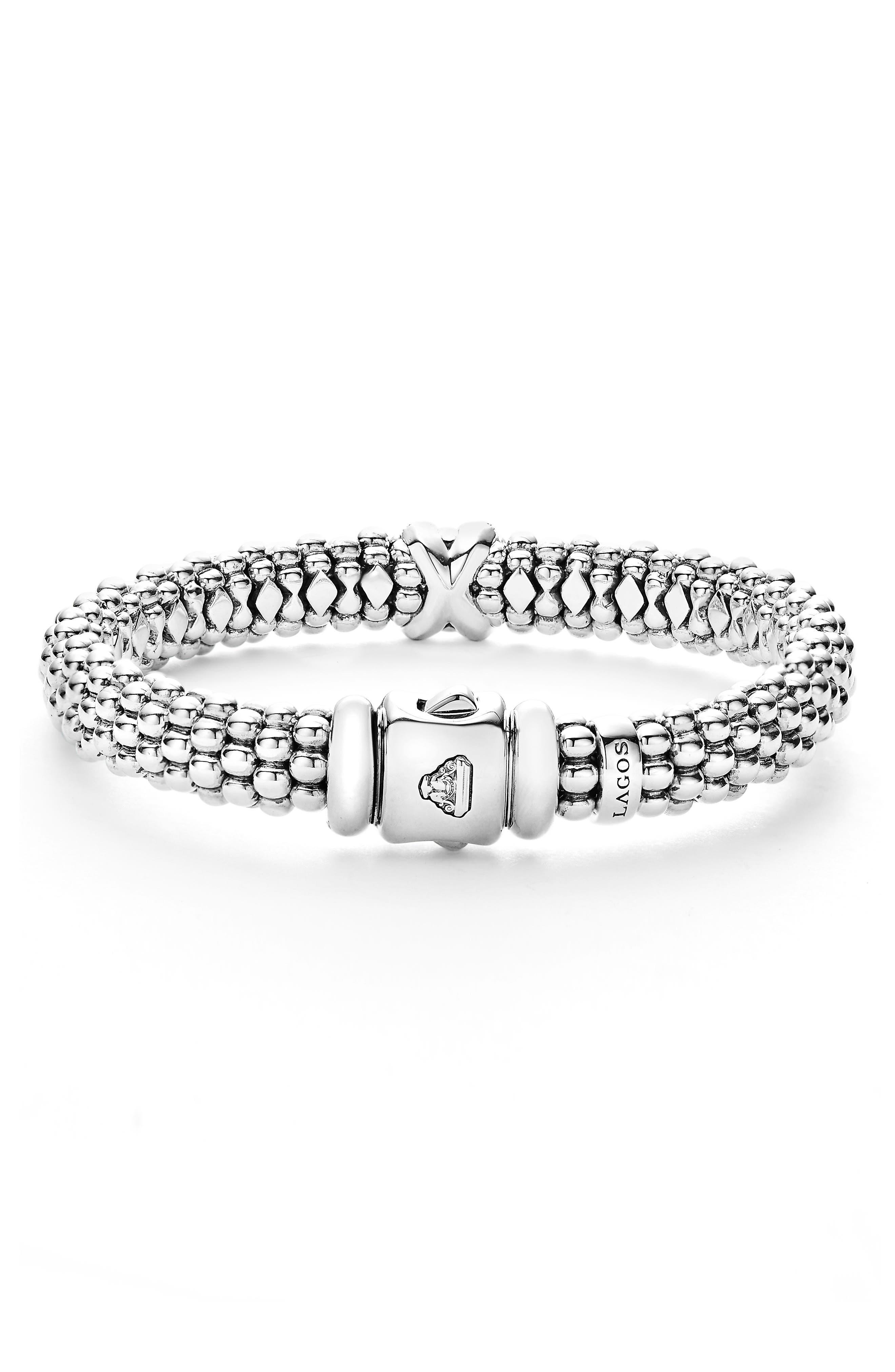 Diamond Lux Single Station X Bracelet,                             Alternate thumbnail 4, color,                             SILVER