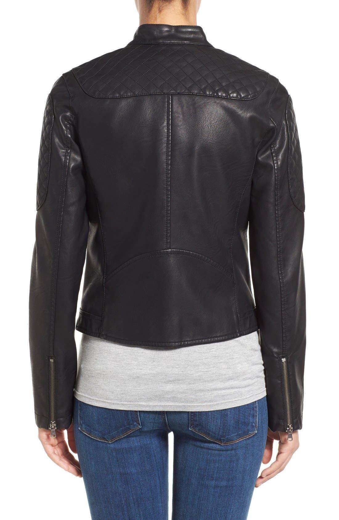 Quilt Detail Faux Leather Racer Jacket,                             Alternate thumbnail 2, color,                             001