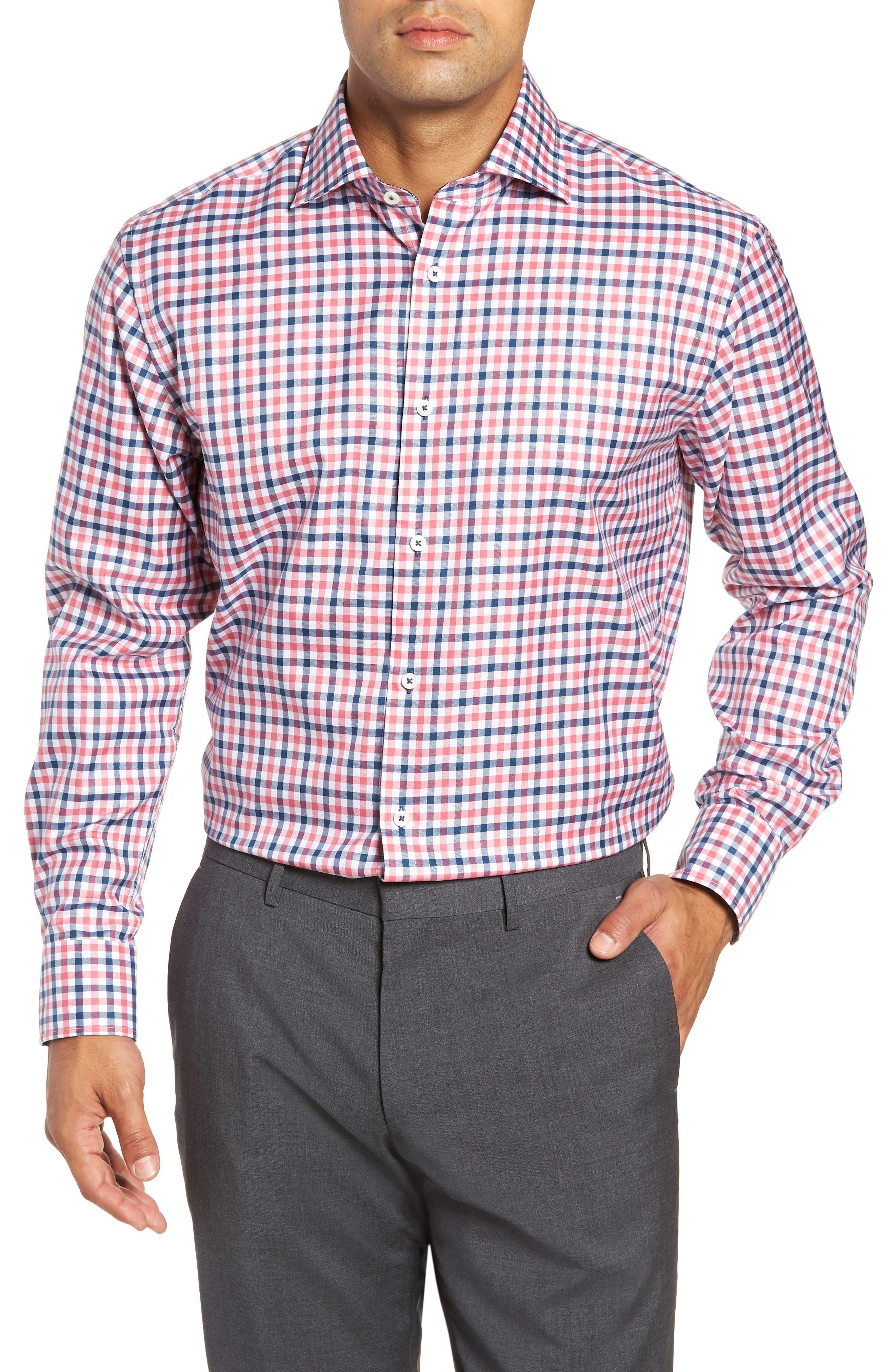 men's bugatchi trim fit check dress shirt