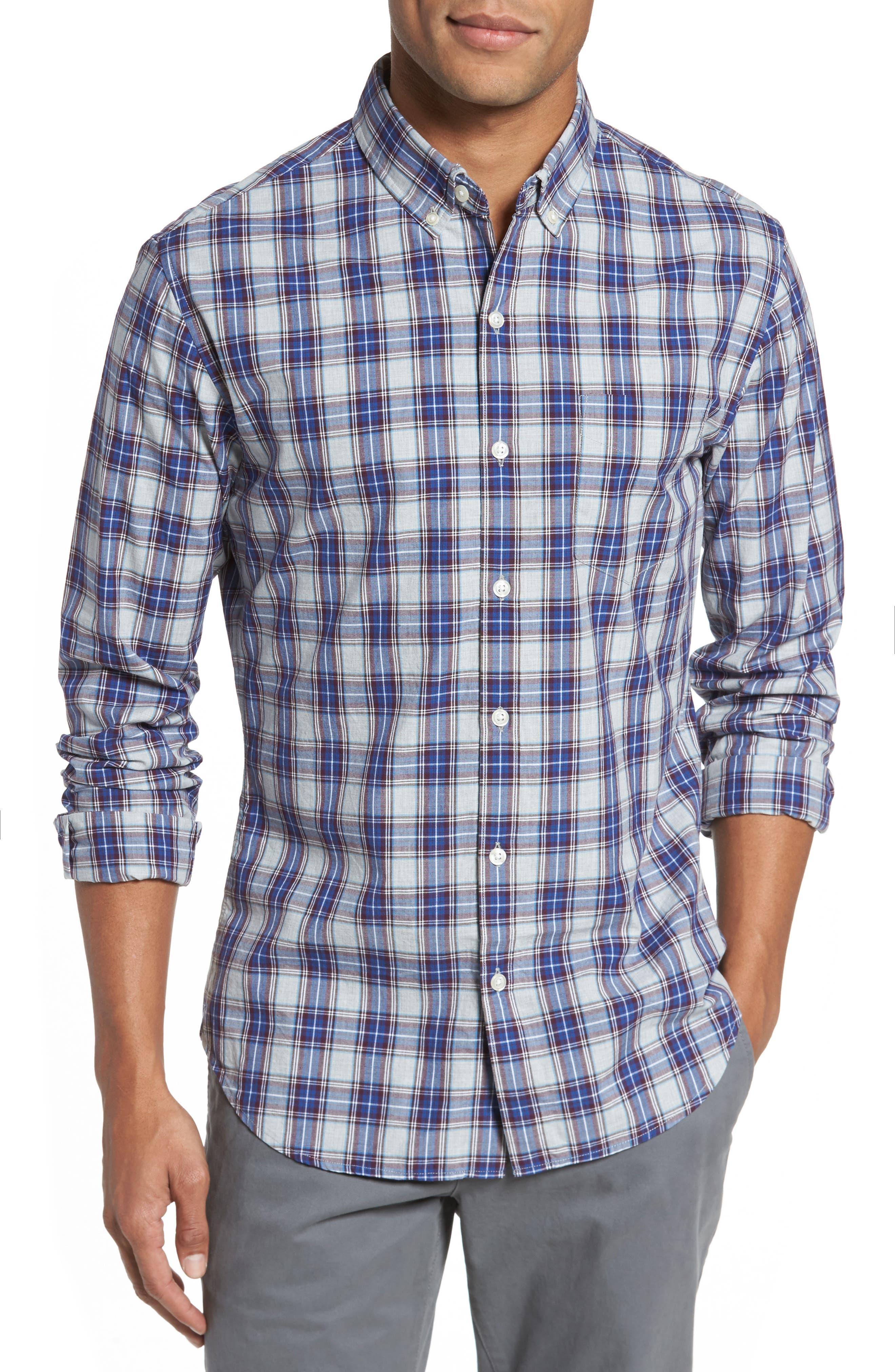 Slim Fit Washed Plaid Sport Shirt,                             Main thumbnail 1, color,