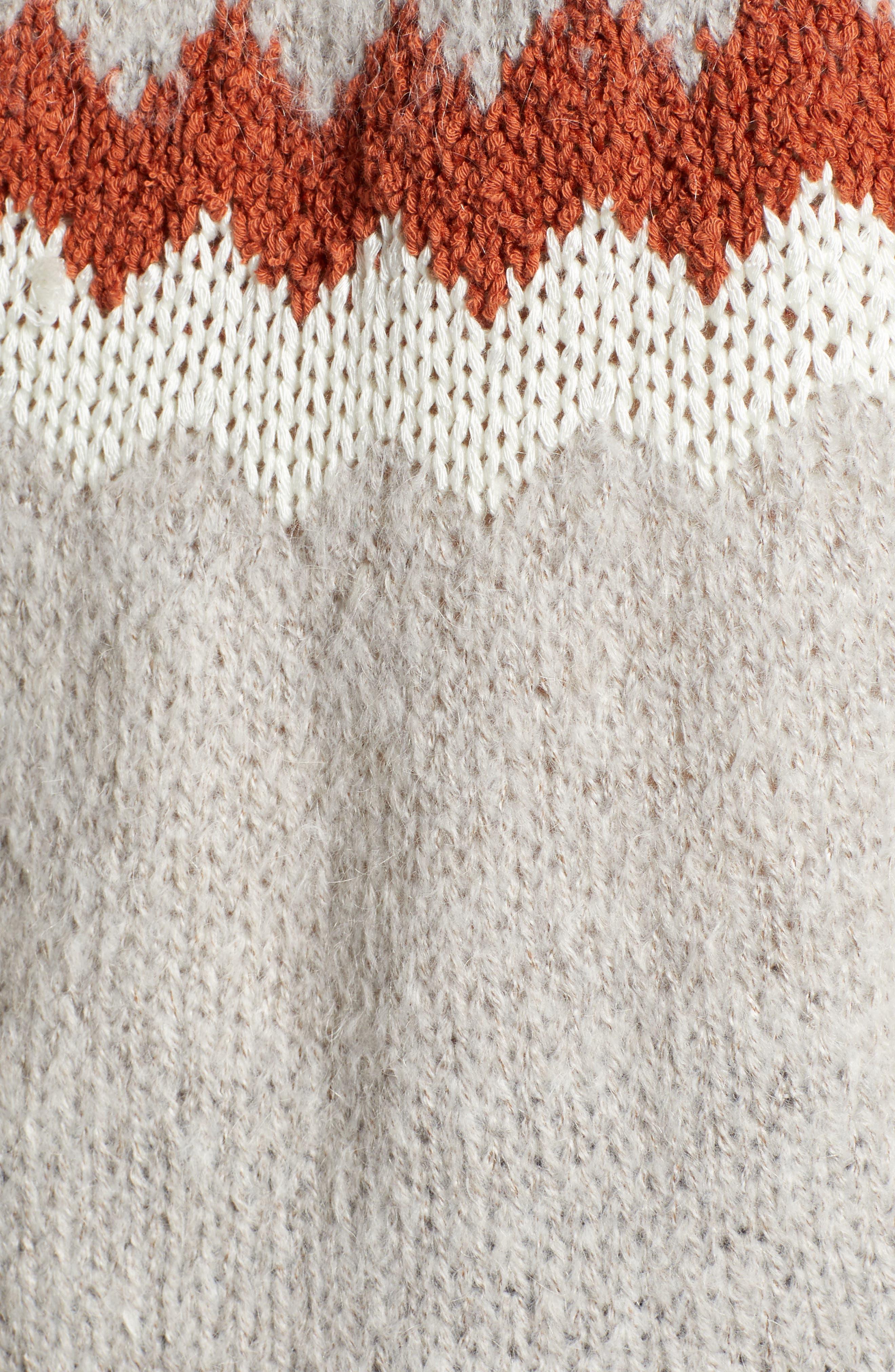 Chunky Jacquard Sweater,                             Alternate thumbnail 5, color,                             TAN FOLIAGE PATTERN