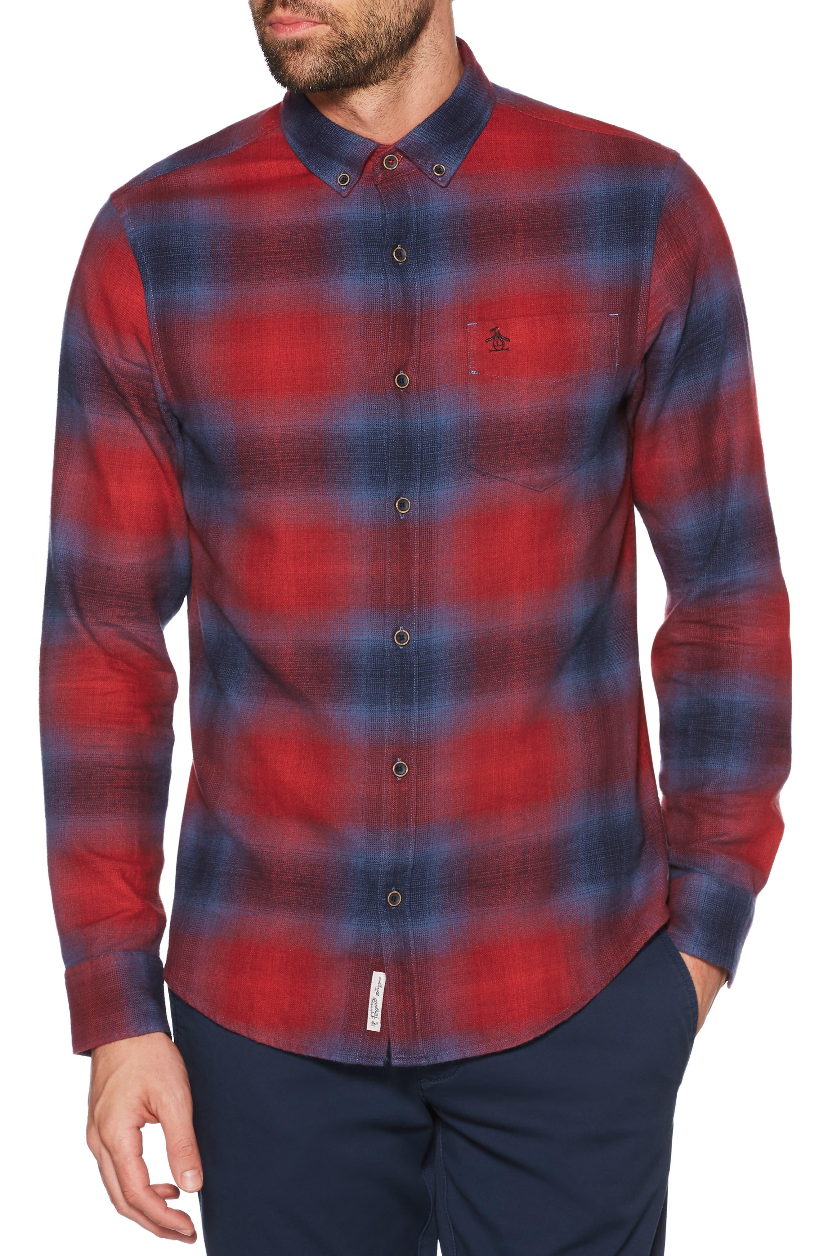ORIGINAL PENGUIN Ombré Plaid Sport Shirt, Main, color, 607