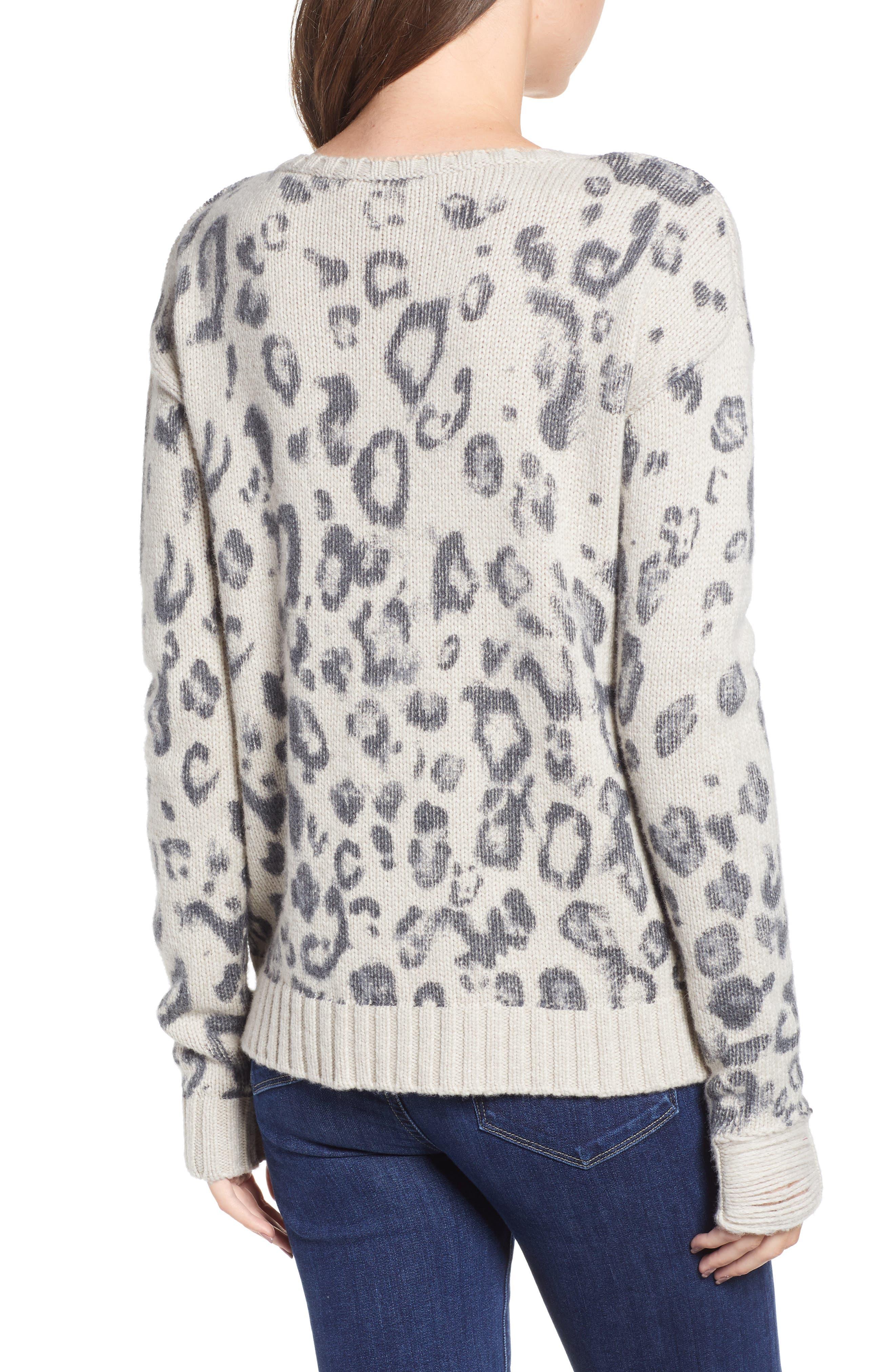 Leopard V-Neck Sweater,                             Alternate thumbnail 2, color,