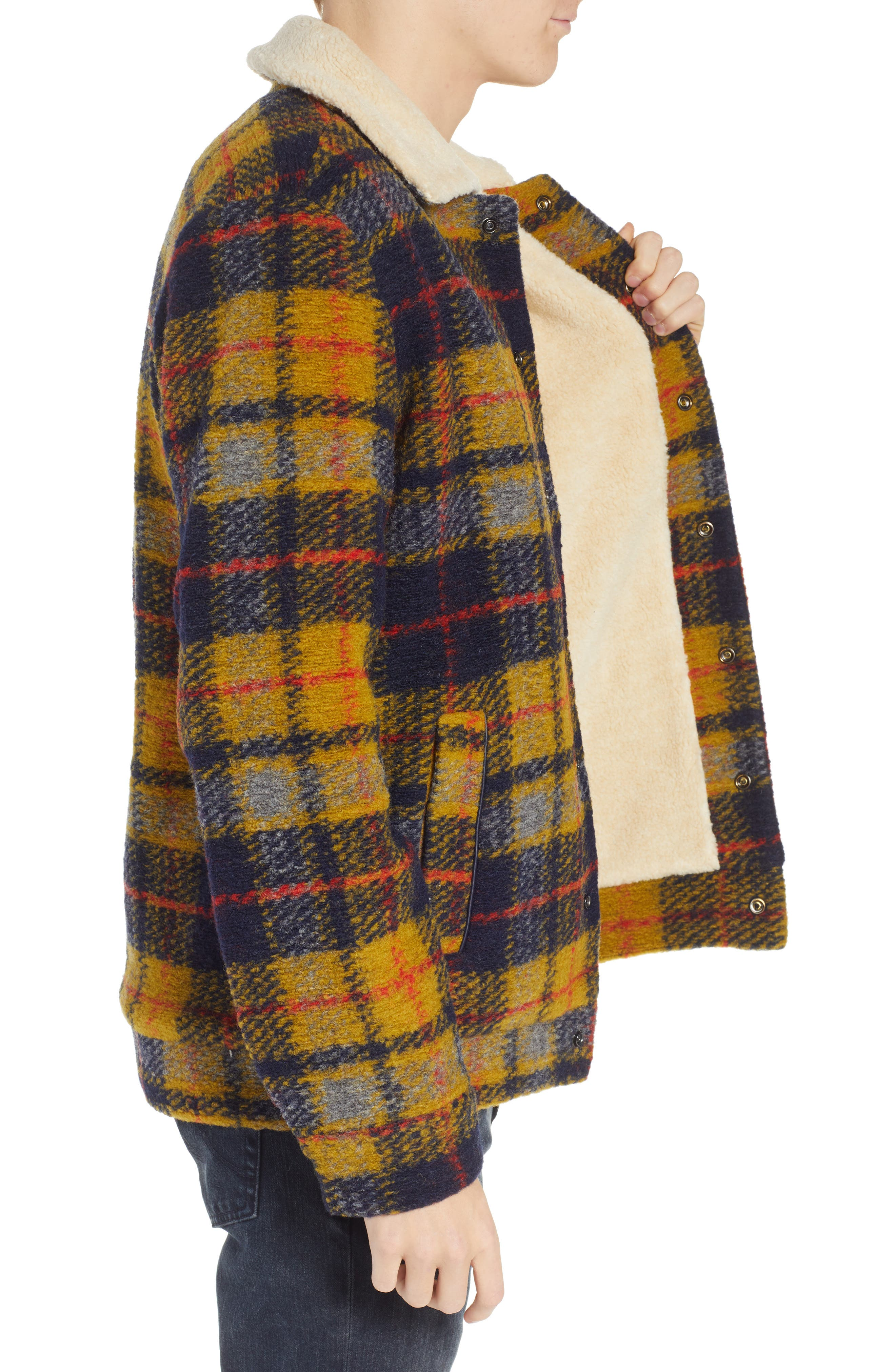 Plaid Faux Shearling Lined Wool Blend Trucker Jacket,                             Alternate thumbnail 3, color,                             COMBO A