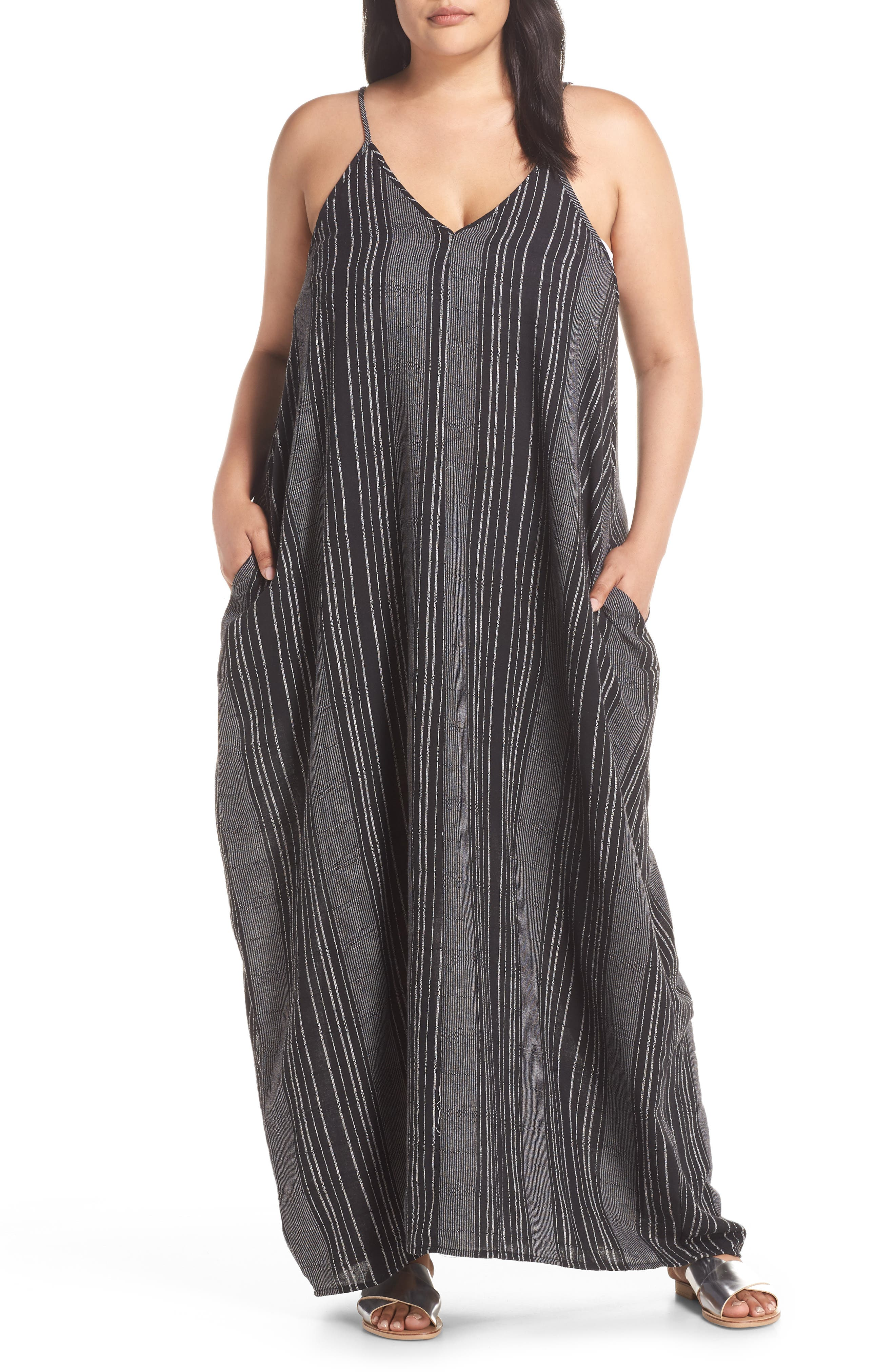 Cover-Up Maxi Dress,                         Main,                         color, BLACK/ WHITE STRIPE