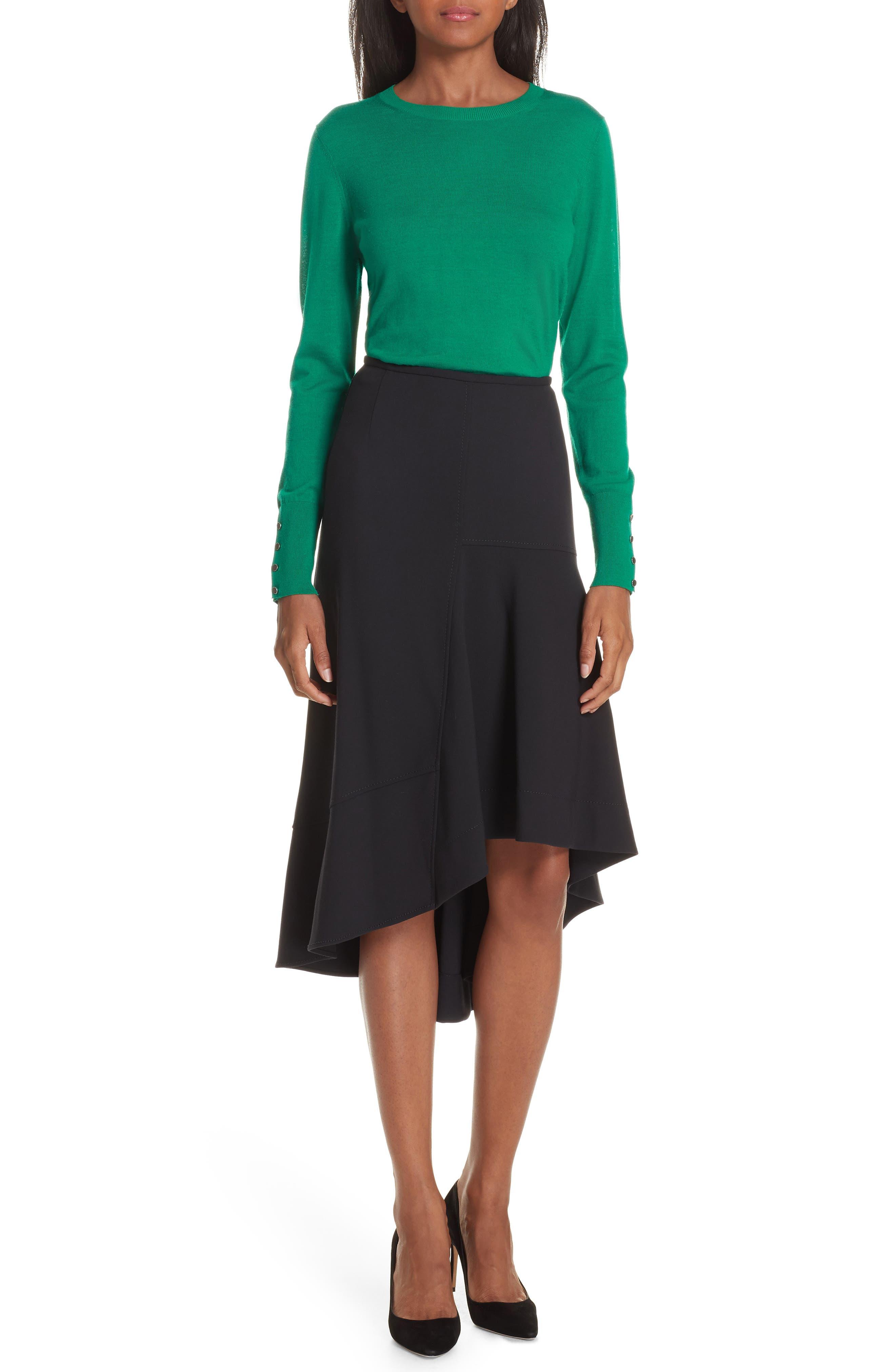 Melepia Asymmetrical Faux Wrap Skirt,                             Alternate thumbnail 7, color,                             NAVY