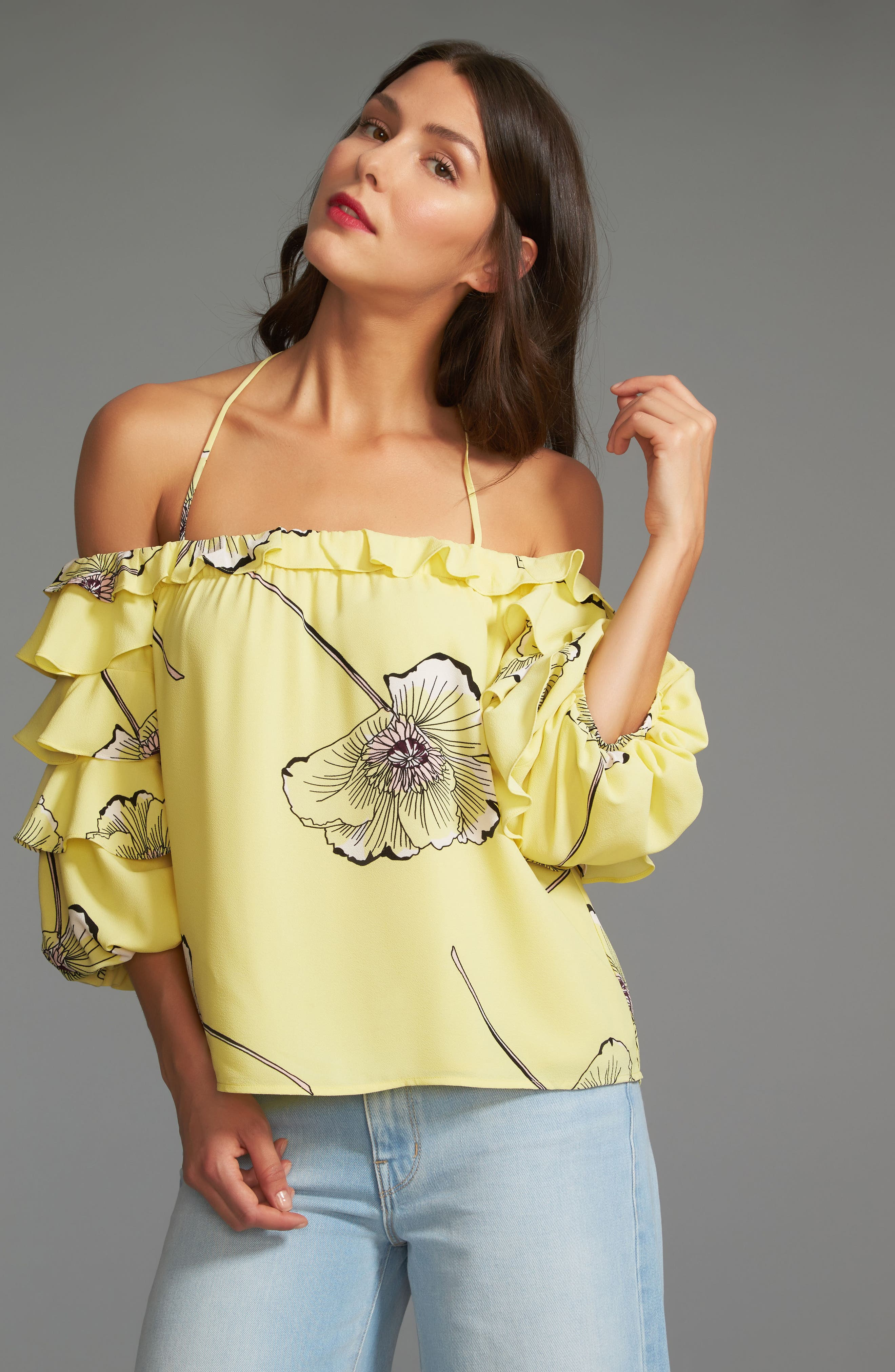 Tiered Sleeve Off the Shoulder Top,                             Alternate thumbnail 7, color,