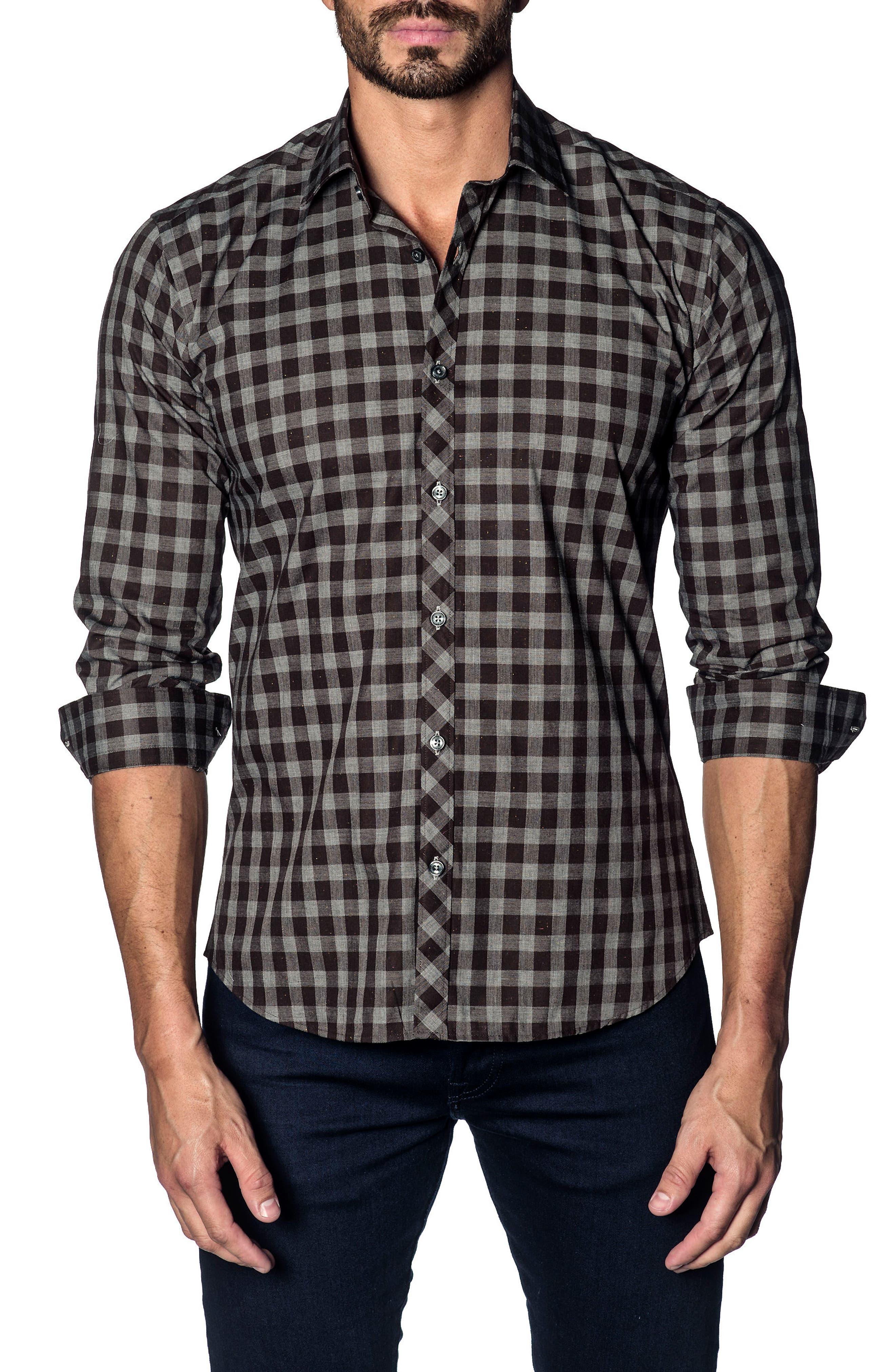 Slim Fit Buffalo Check Sport Shirt,                             Main thumbnail 1, color,