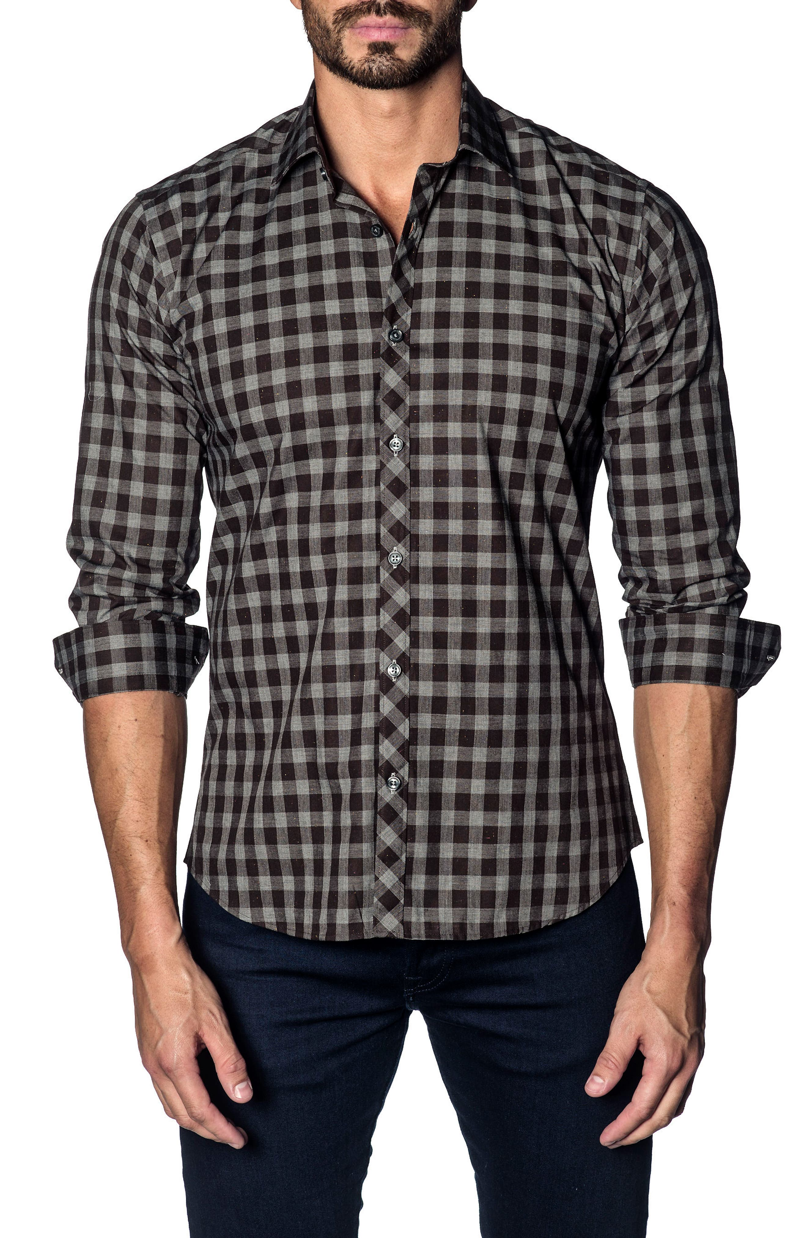 Slim Fit Buffalo Check Sport Shirt,                         Main,                         color,