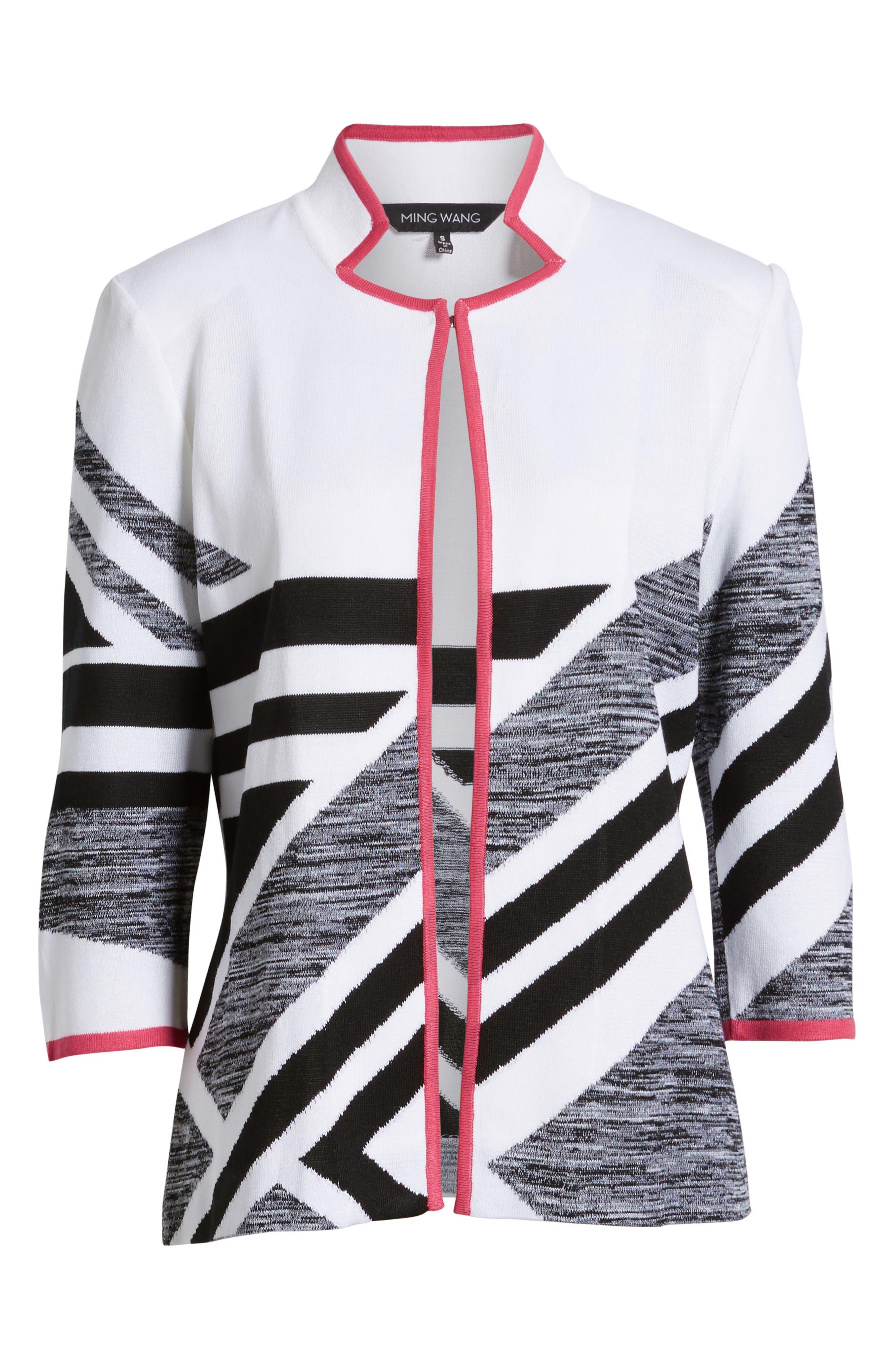 Geometric Knit Jacket,                             Alternate thumbnail 5, color,