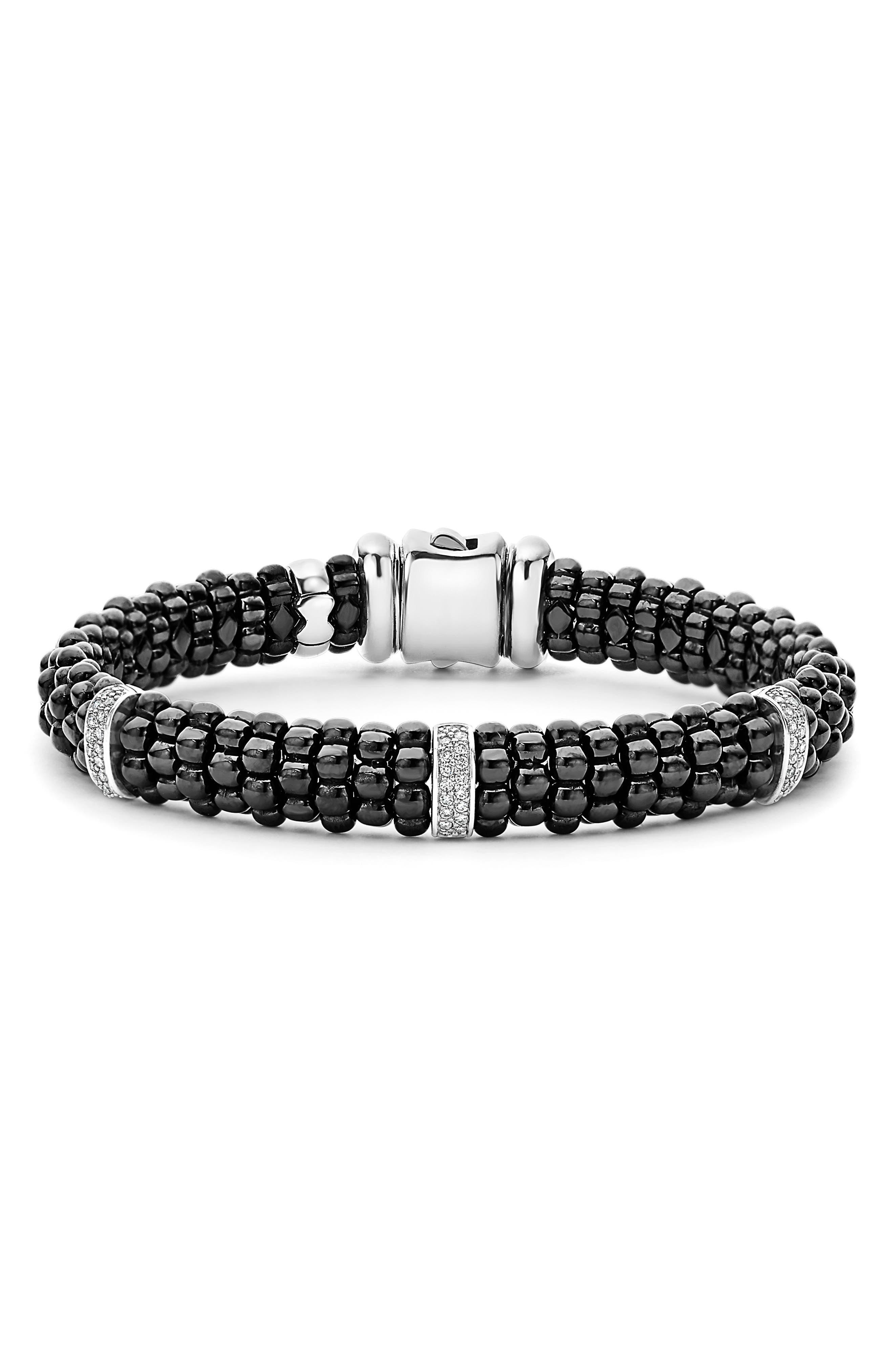 Black Caviar Diamond Bracelet,                             Main thumbnail 1, color,                             BLACK/ SILVER