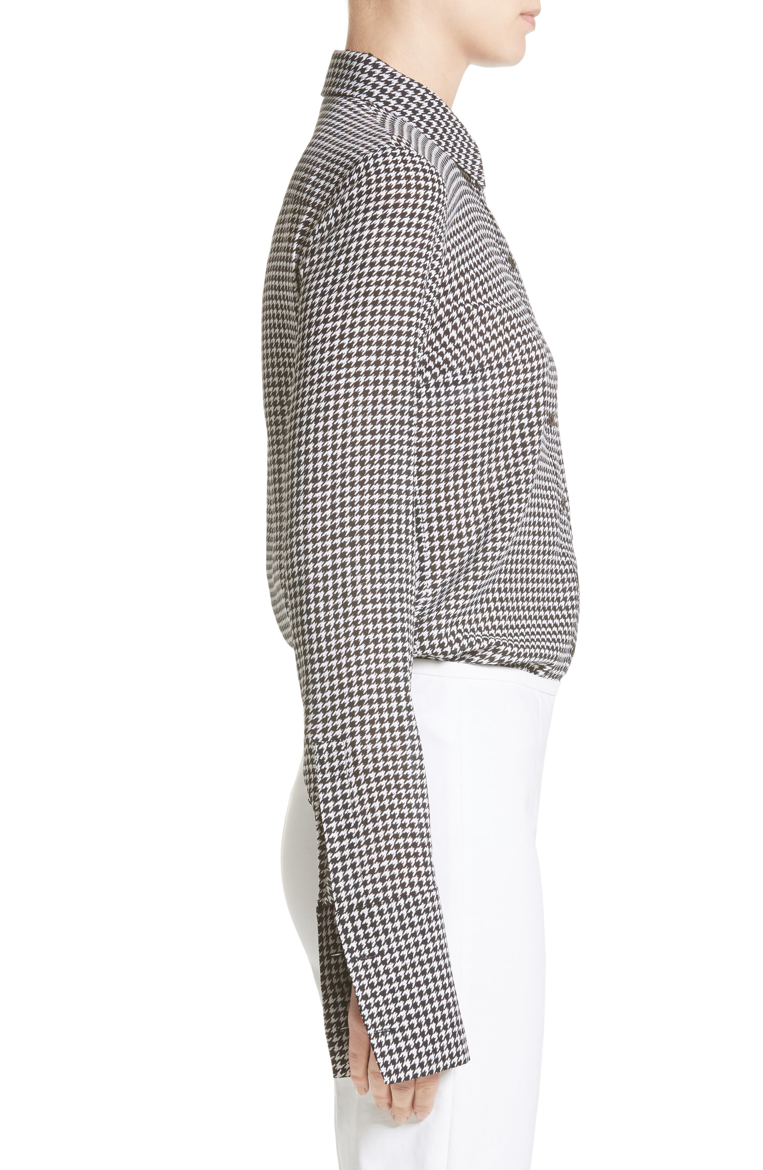 Houndstooth Silk Georgette Shirt,                             Alternate thumbnail 3, color,                             003