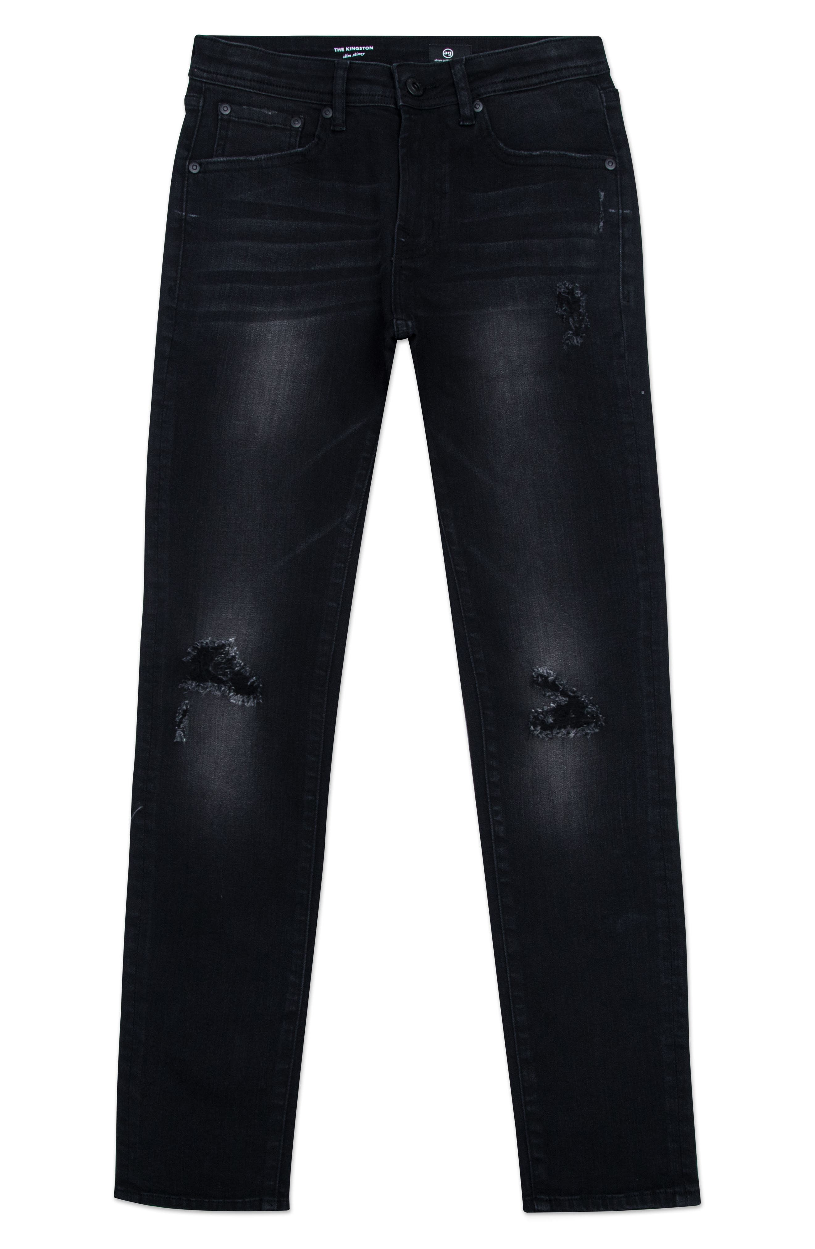 The Kingston Ripped Straight Leg Jeans,                         Main,                         color, BLACK ROCK WASH