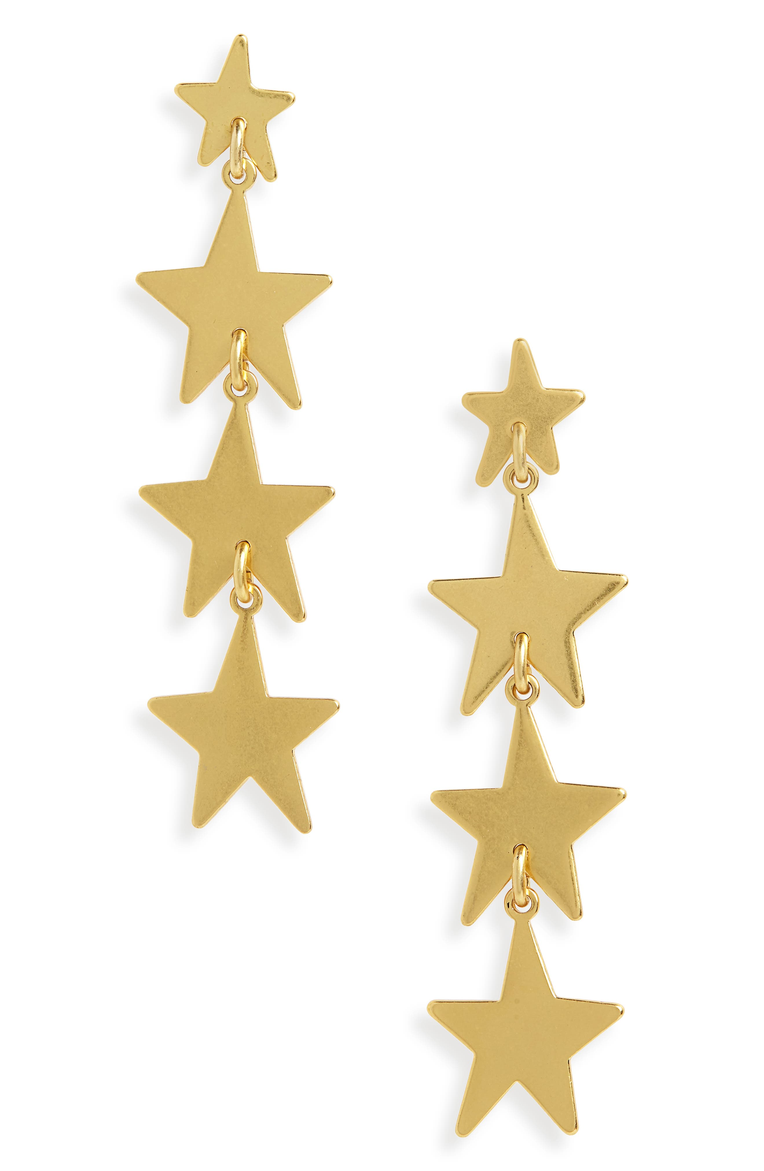 Star Drop Earrings,                         Main,                         color, VINTAGE GOLD