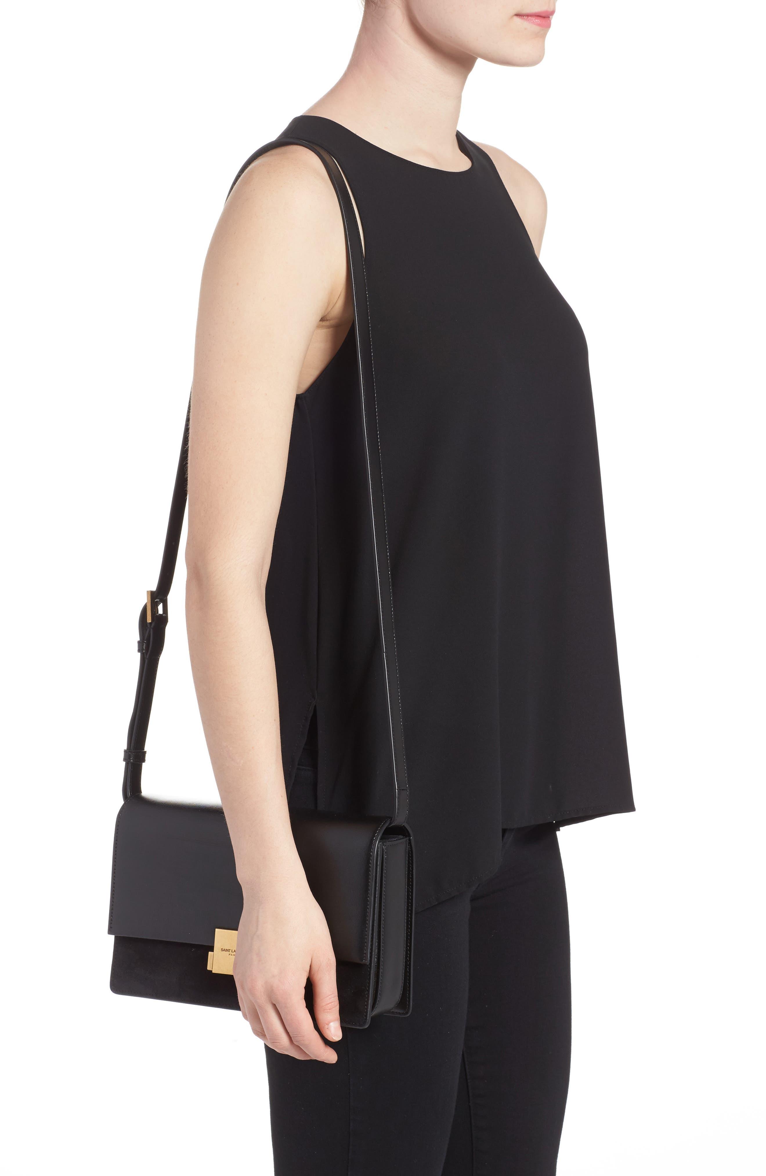 Medium Bellechasse Suede & Leather Shoulder Bag,                             Alternate thumbnail 2, color,                             NOIR