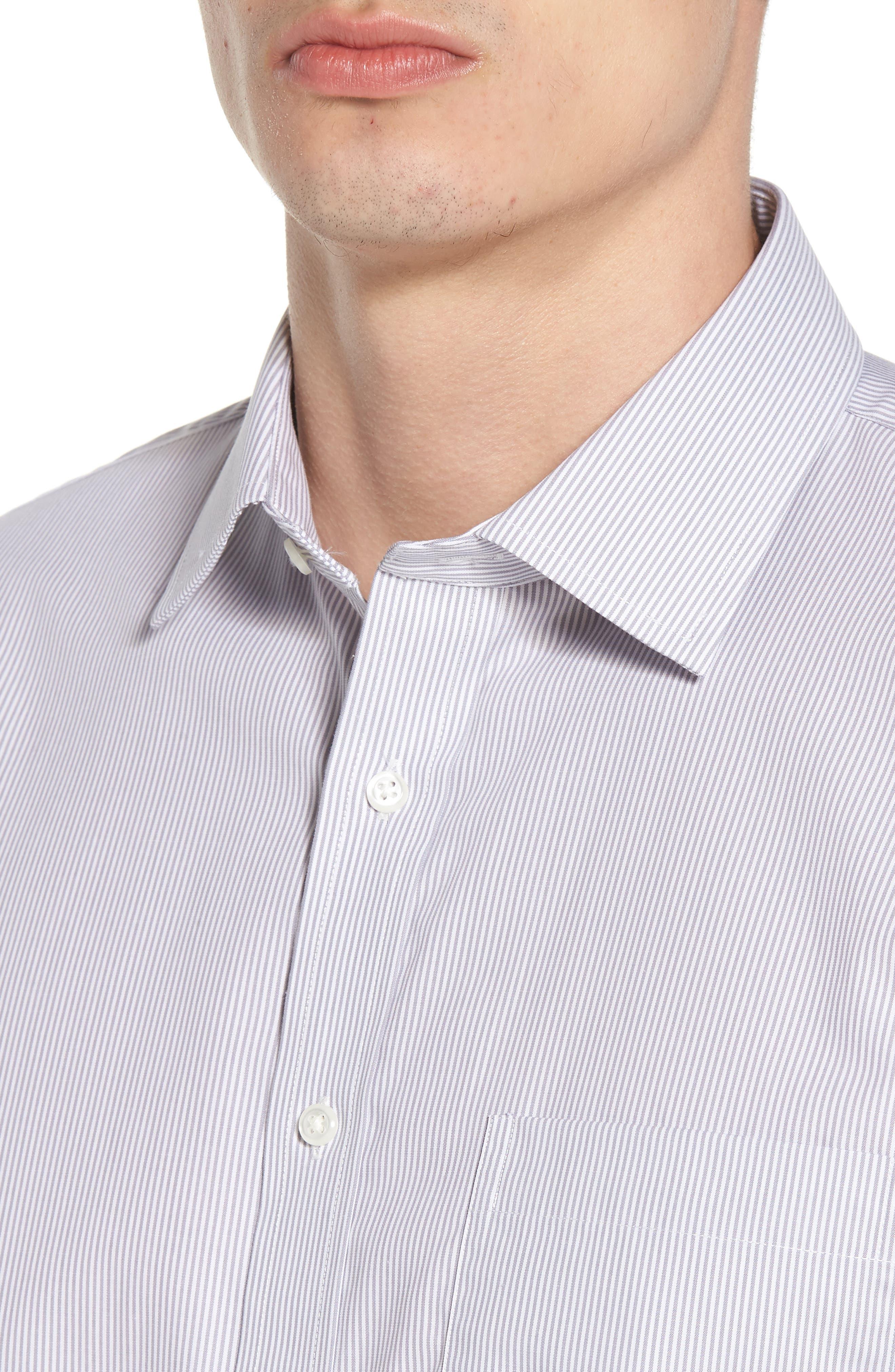 Trim Fit Non-Iron Stripe Dress Shirt,                             Alternate thumbnail 7, color,