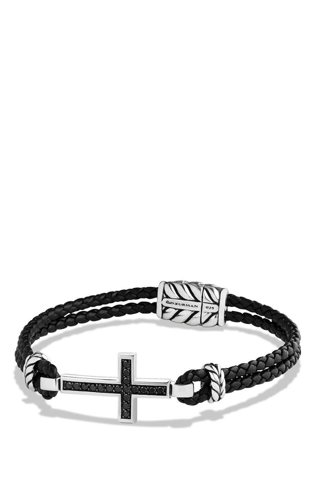 Pavé Cross Bracelet with Black Diamonds,                             Main thumbnail 1, color,                             BLACK DIAMOND