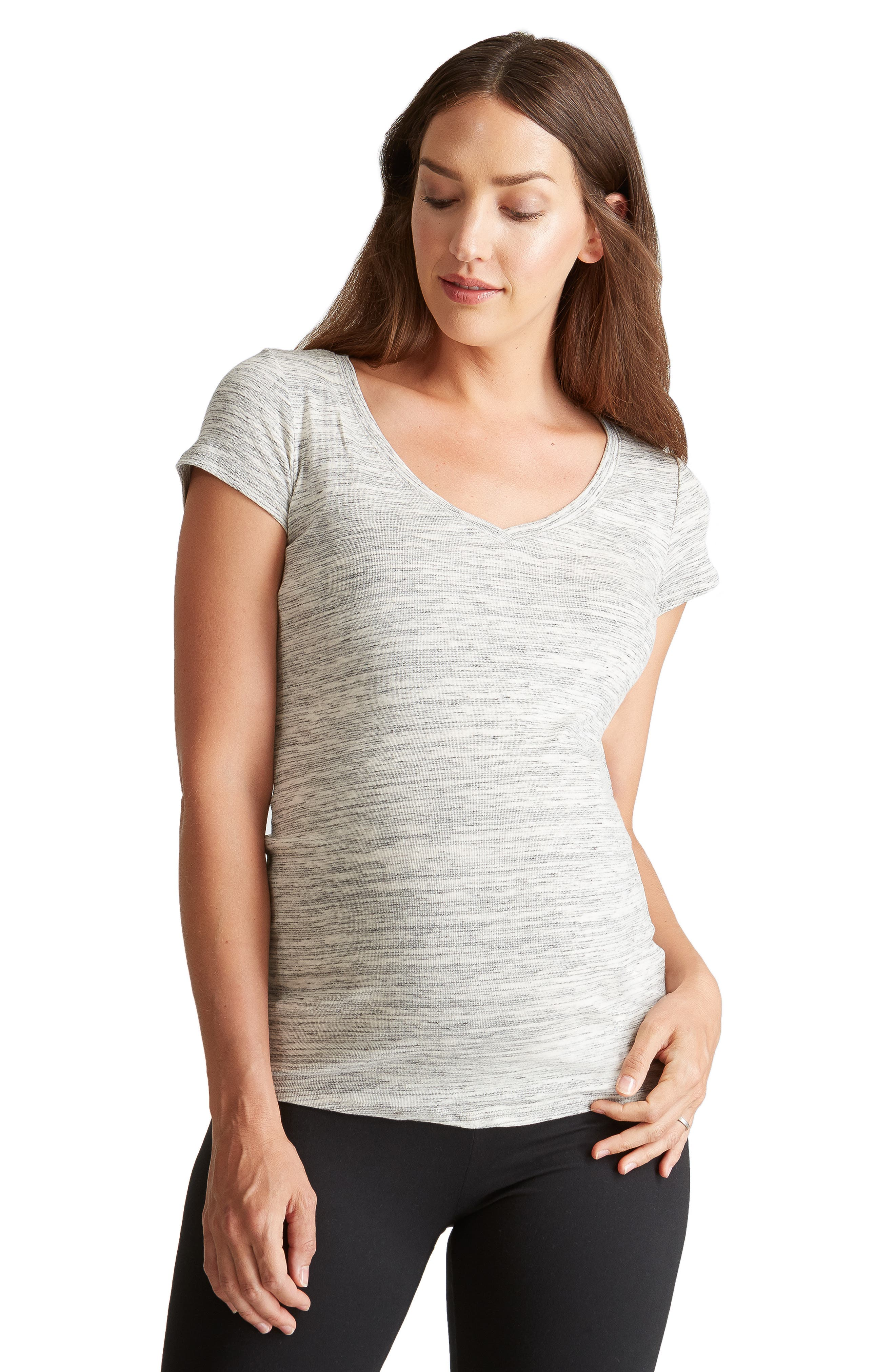 Ingrid & Isabel V-Neck Maternity Tee,                             Alternate thumbnail 3, color,                             060