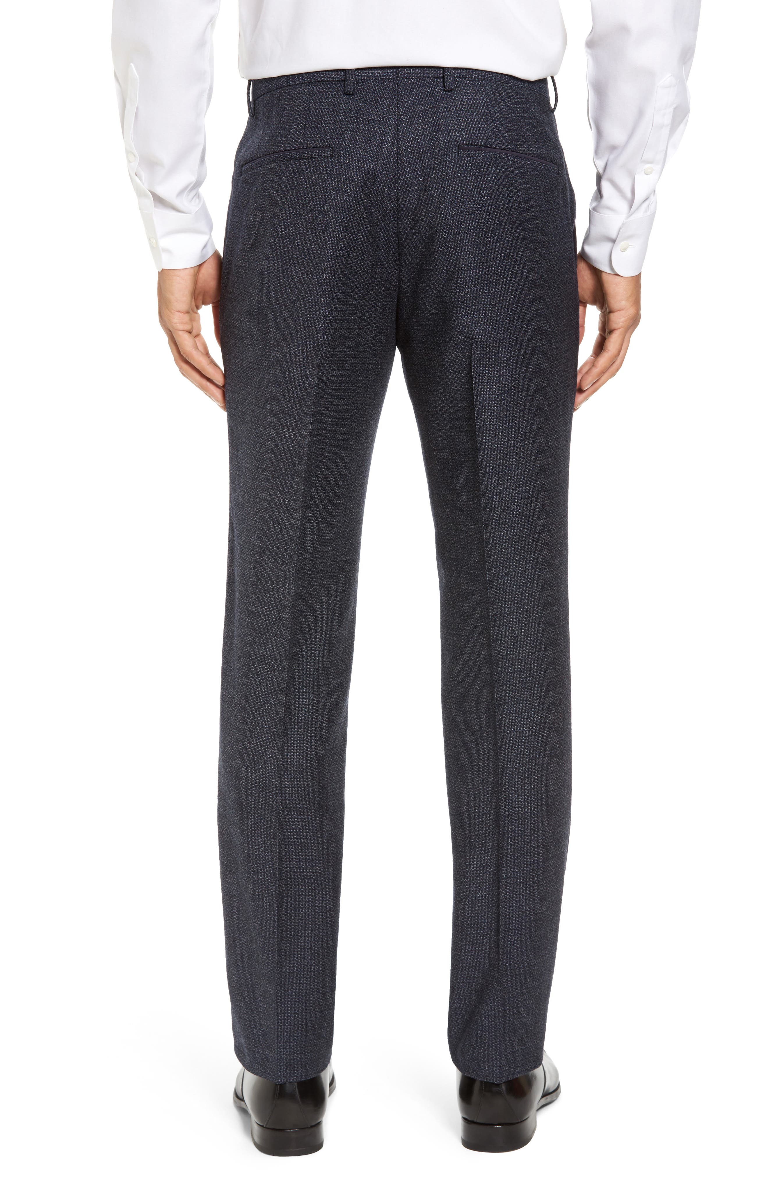 Giro Flat Front Solid Wool Trousers,                             Alternate thumbnail 4, color,