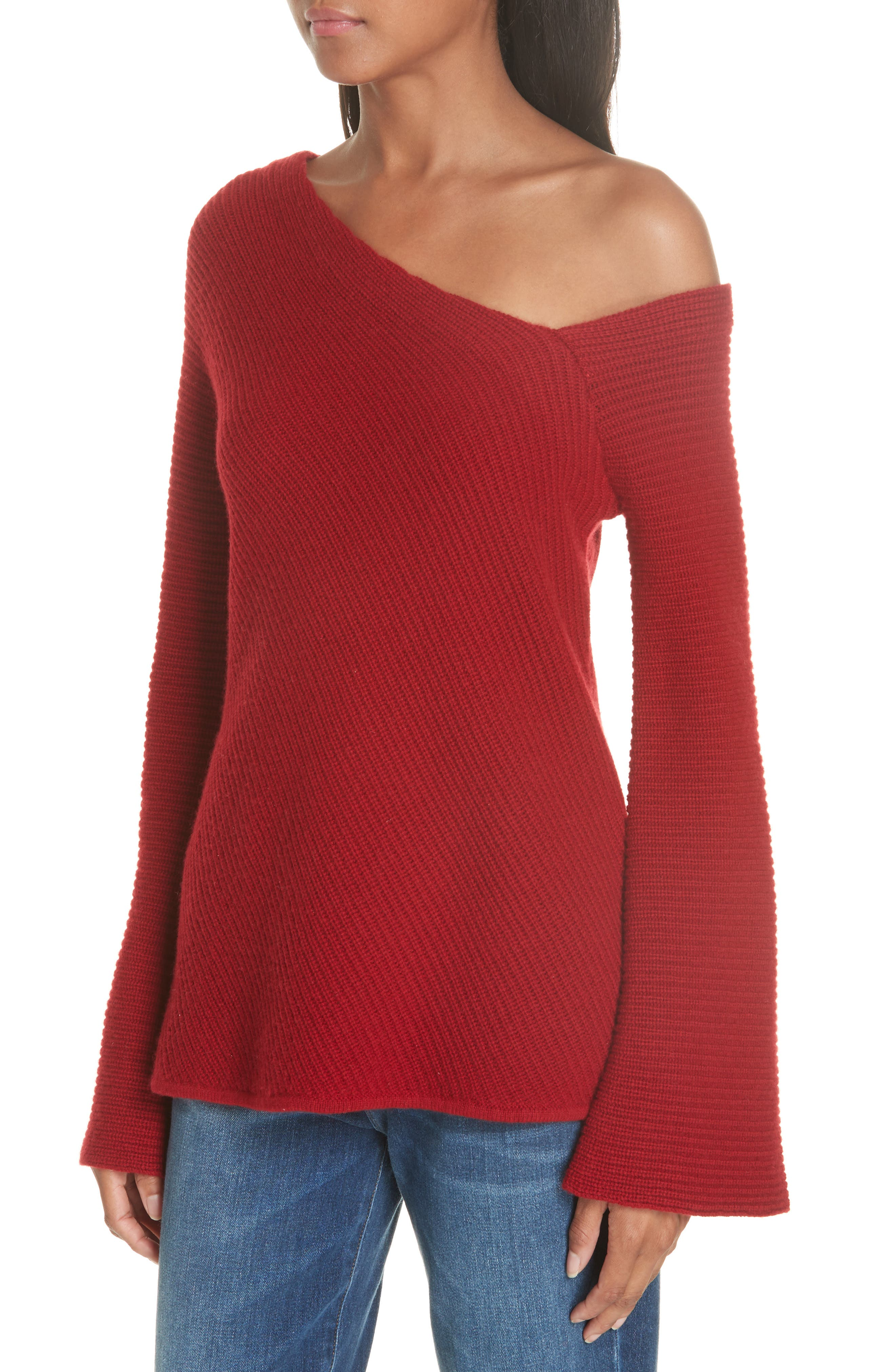Charly Wool & Cashmere One-Shoulder Sweater,                             Alternate thumbnail 4, color,                             RED