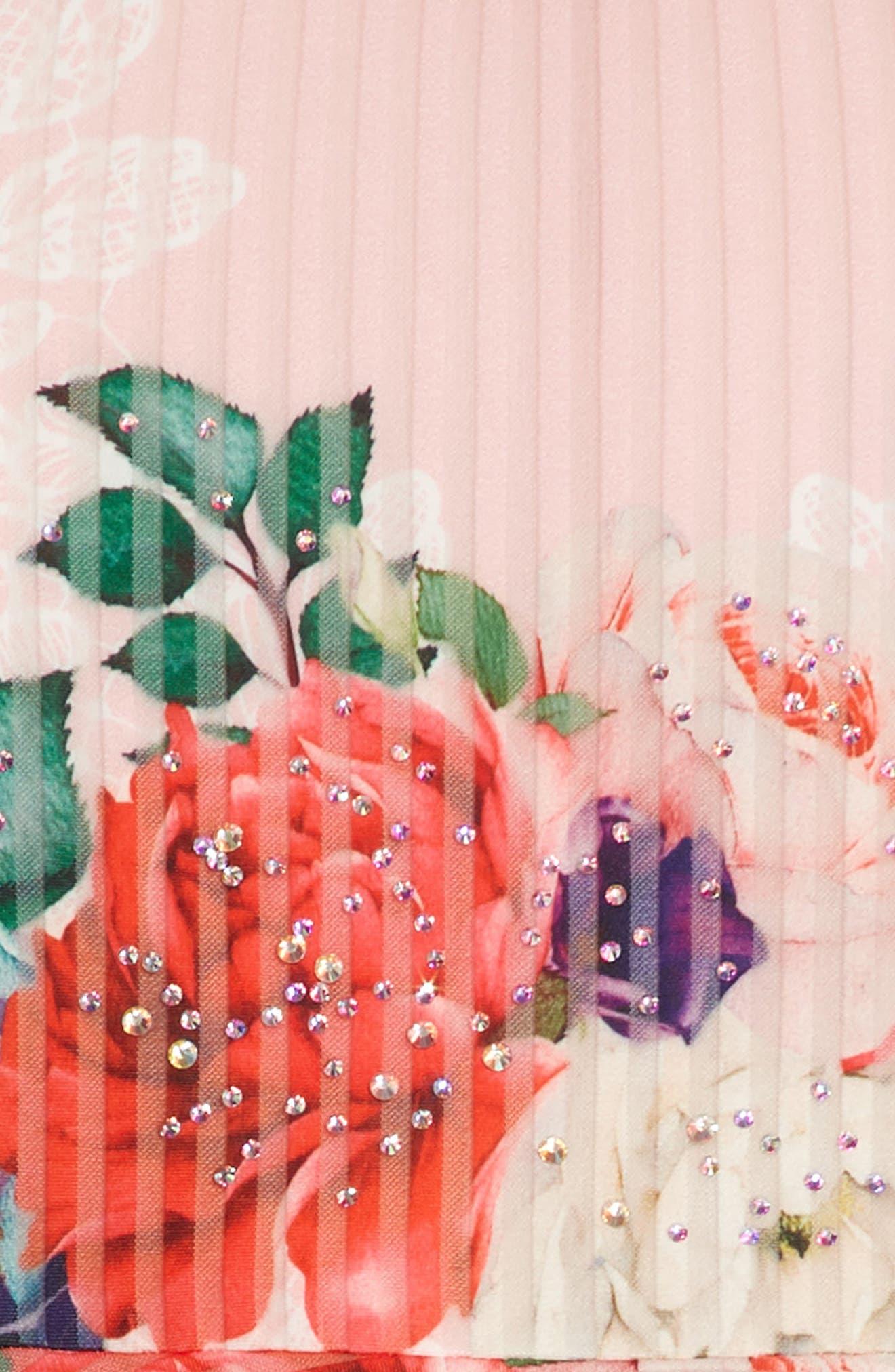 Floral Print Skater Dress,                             Alternate thumbnail 3, color,                             PINK MULTI